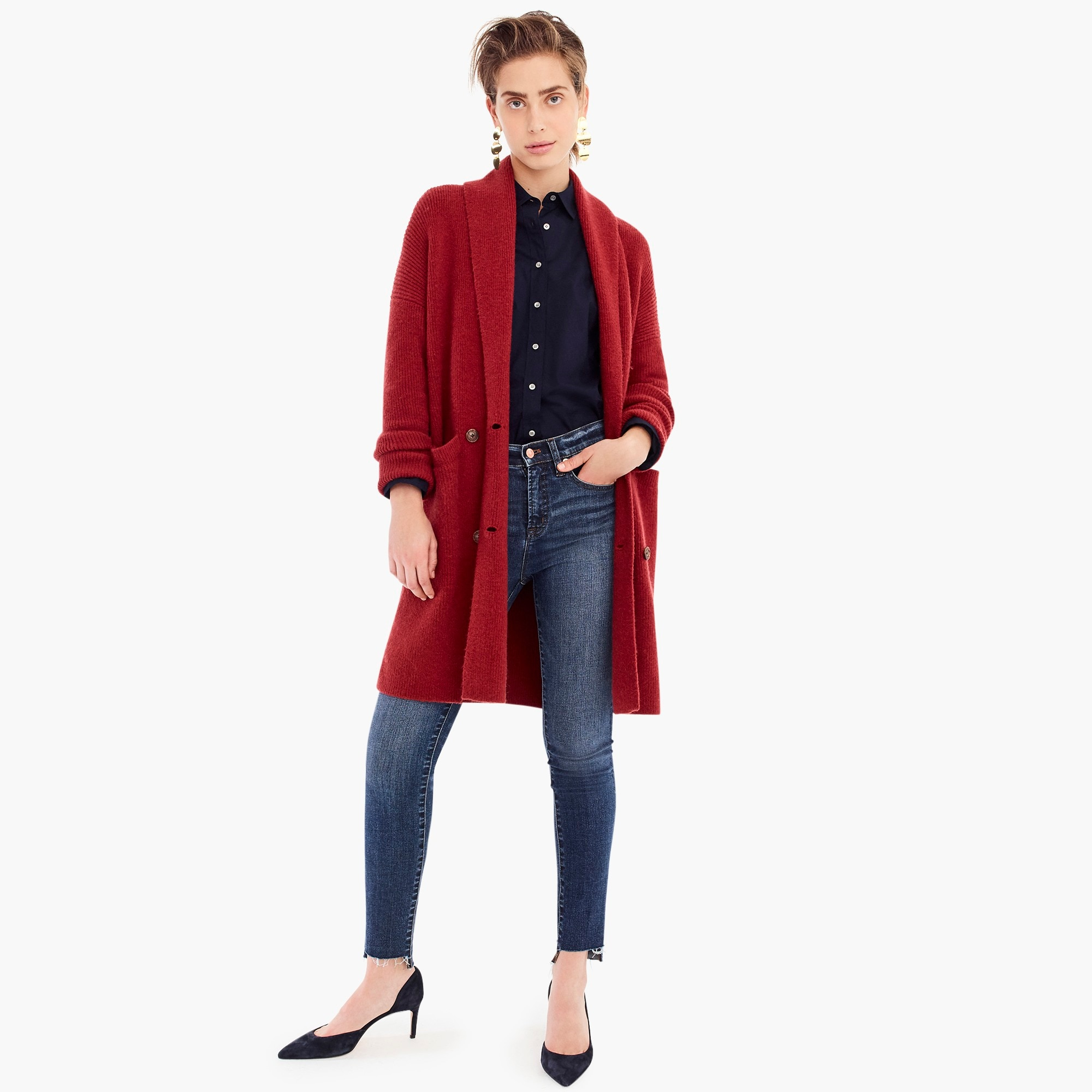 womens Double-breasted cardigan coat in supersoft yarn
