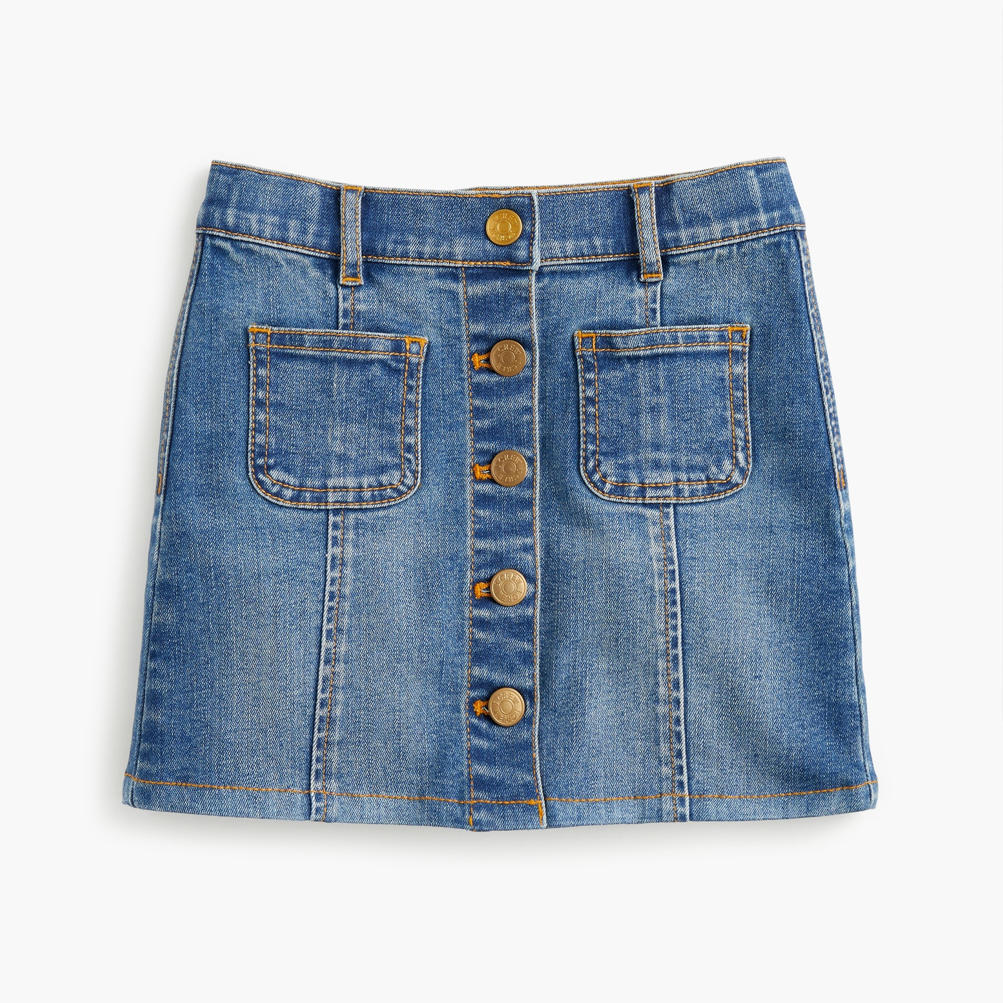 Girls' button-front denim skirt