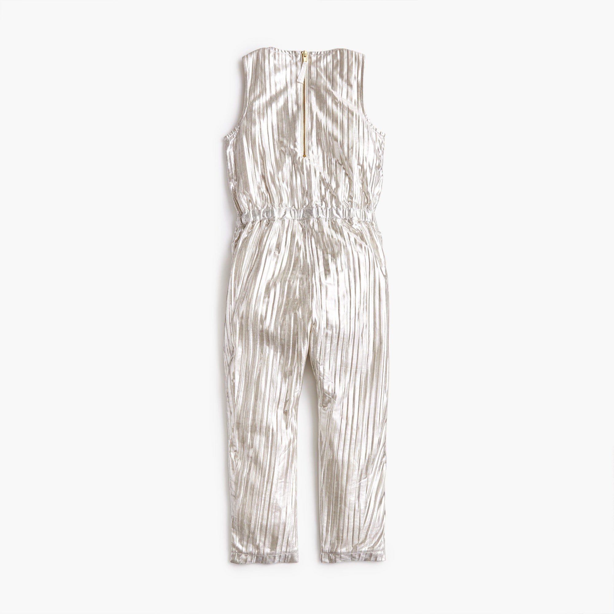 Girls' metallic ruffle-trimmed jumpsuit
