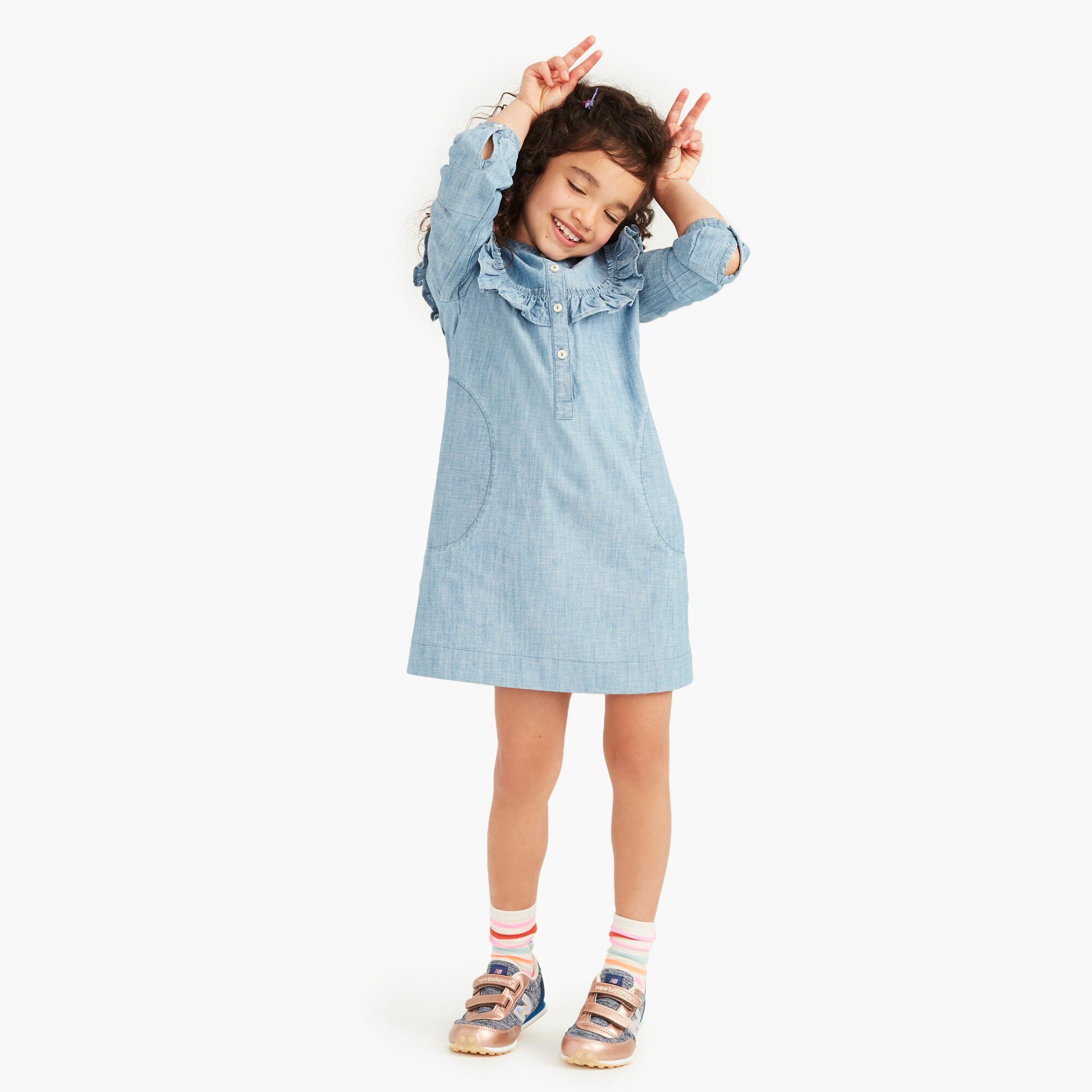 Girls' ruffle-trimmed shirtdress in chambray