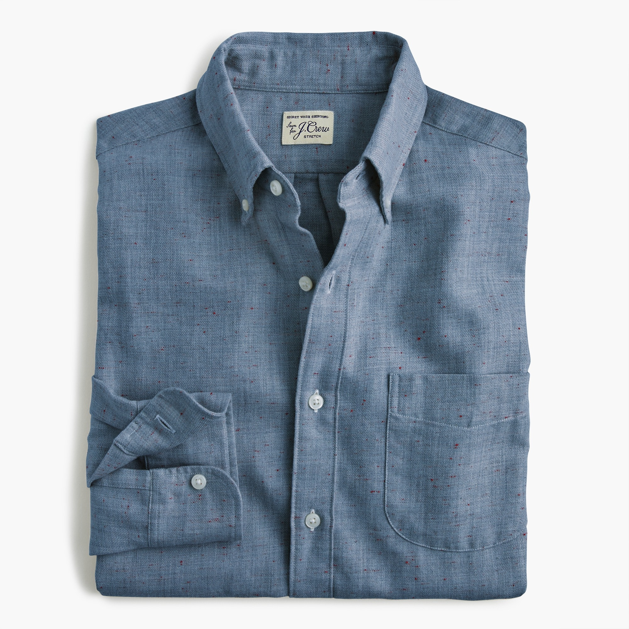 Slim neppy cotton twill shirt