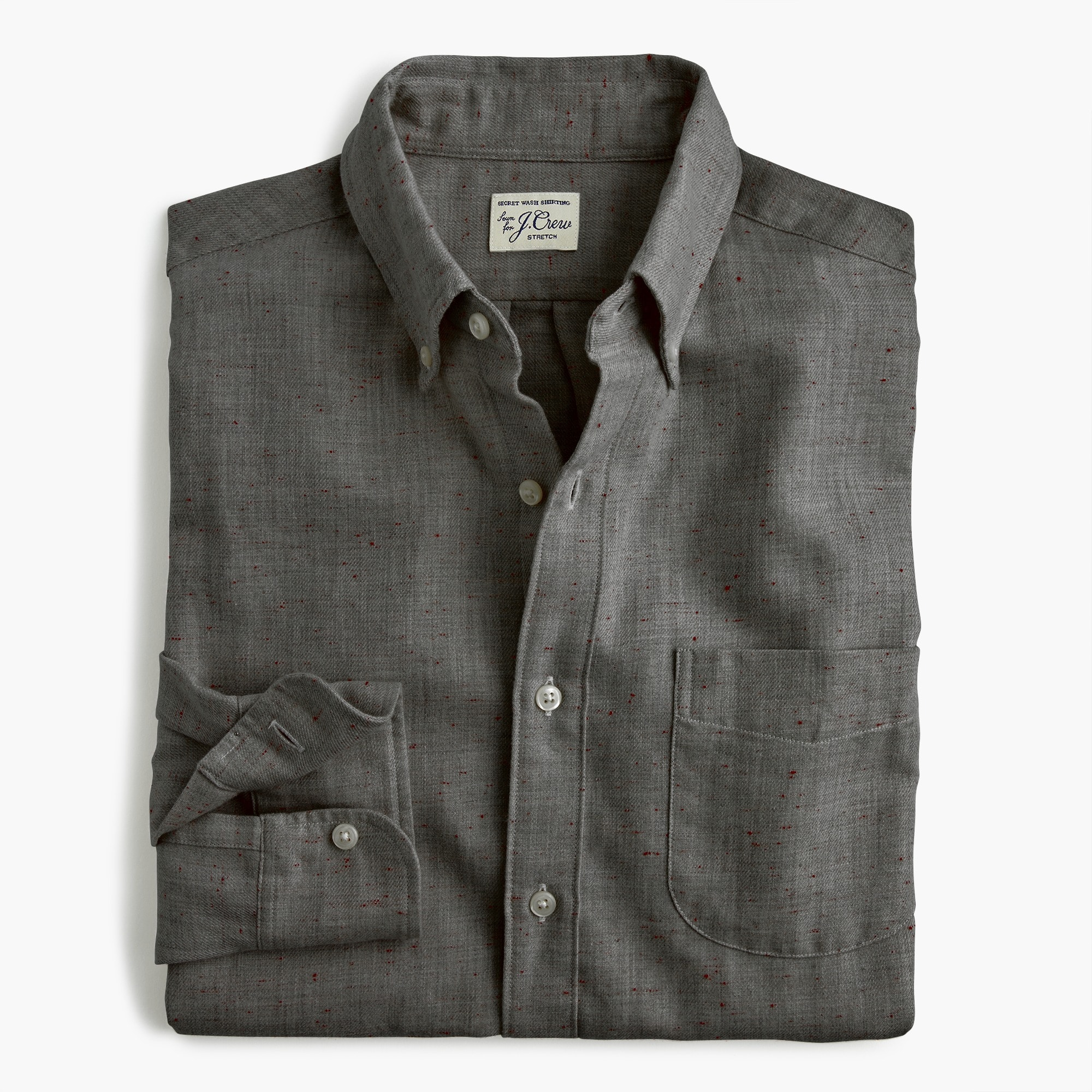 slim neppy cotton twill shirt : men slim
