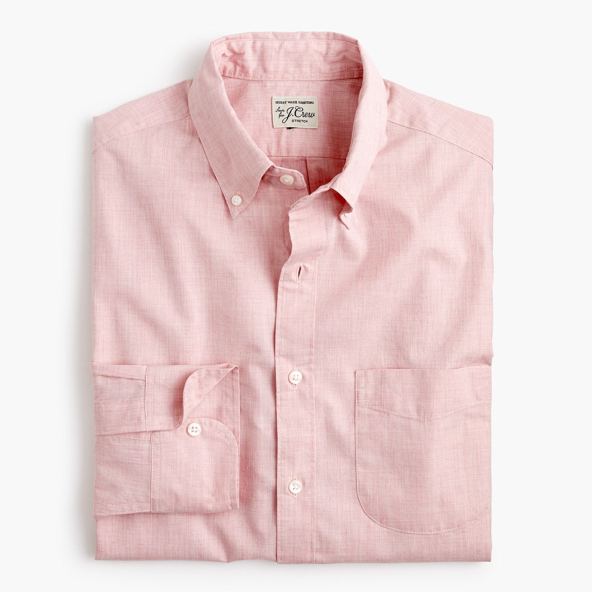 mens Stretch Secret Wash shirt in solid heathered poplin