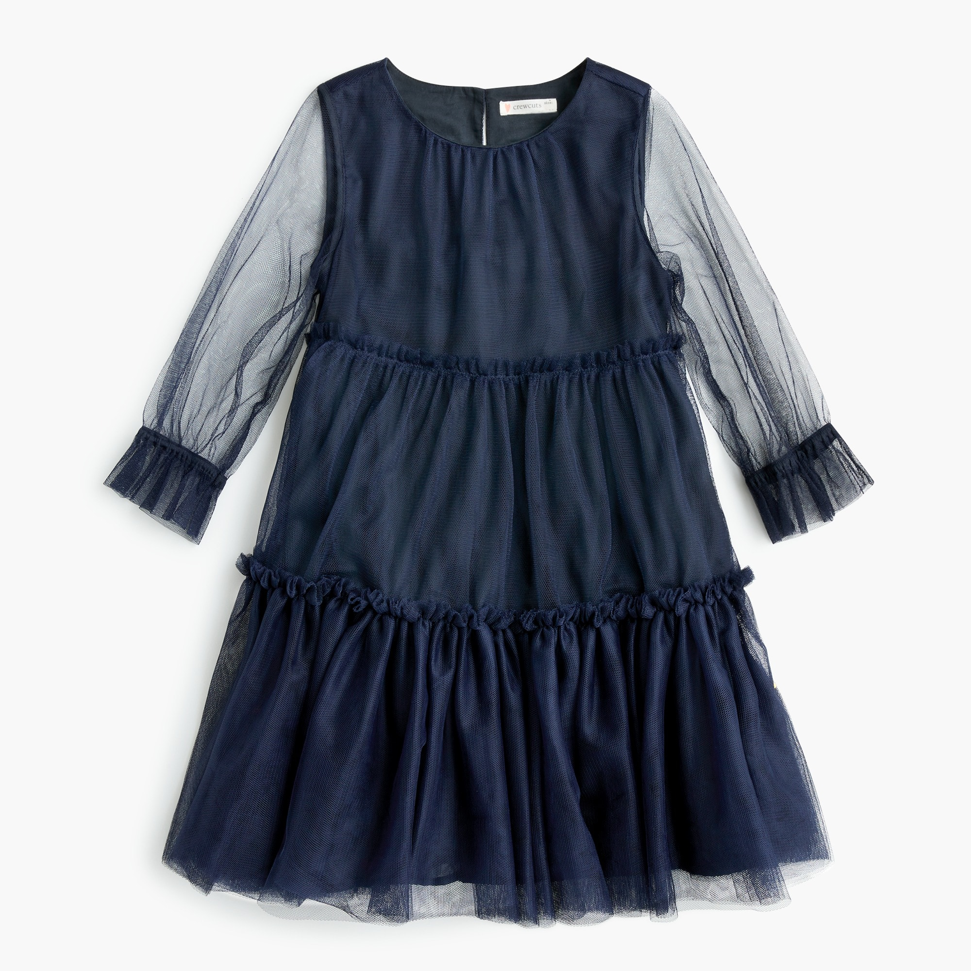 Image 2 for Girls' dress with tiered tulle overlay