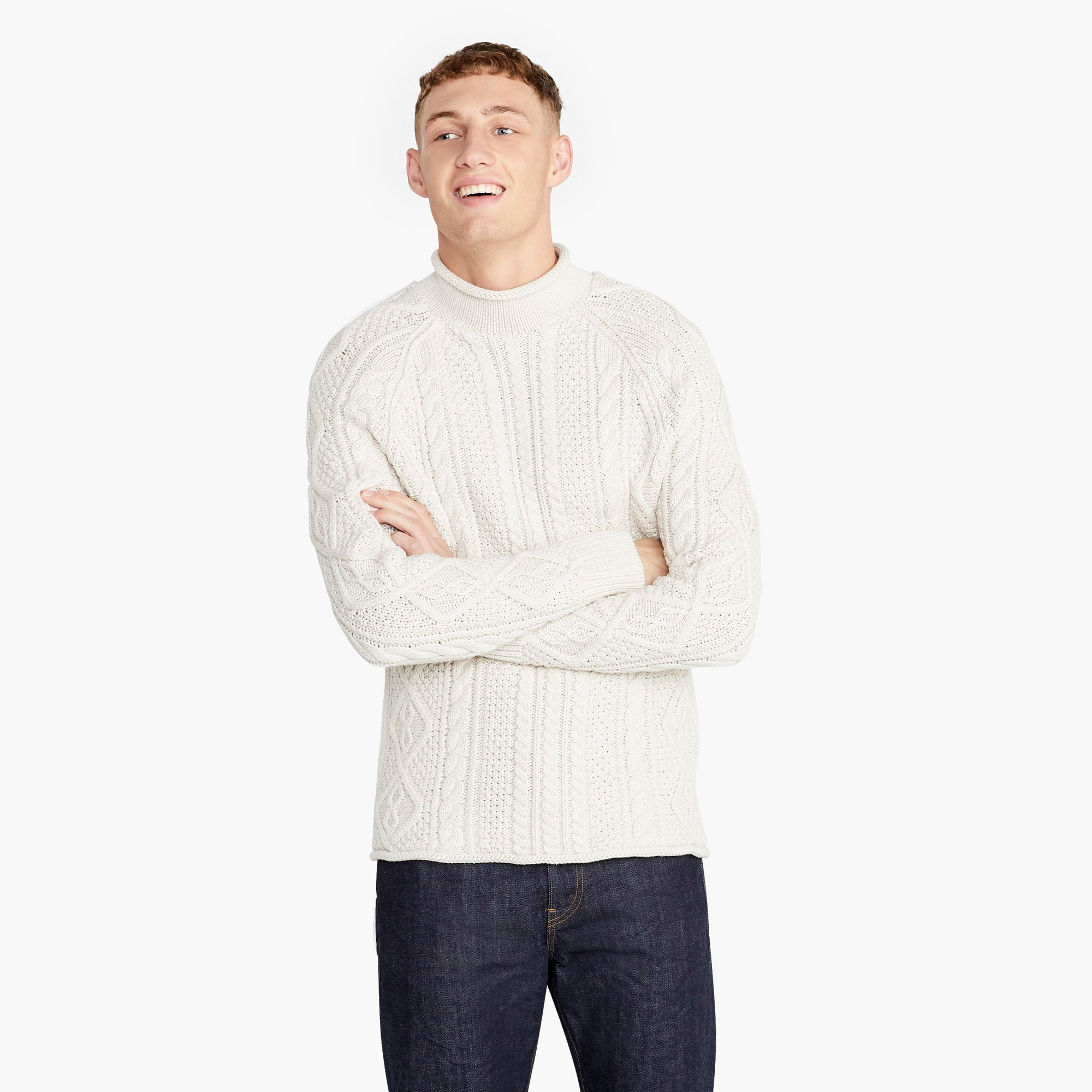 mens 1988 rollneck™ sweater in cable knit cotton