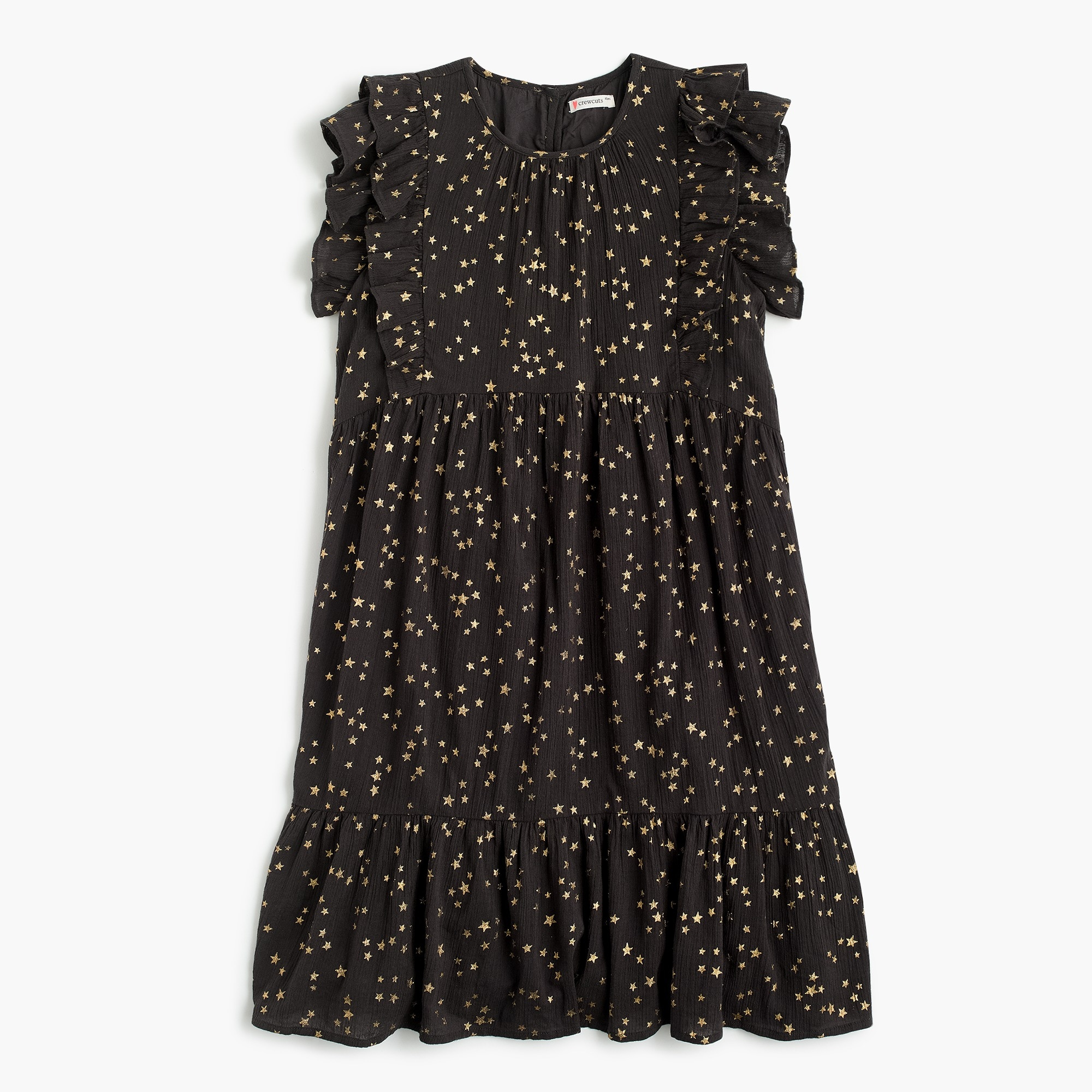 girls Girls' ruffle-trimmed dress in stars