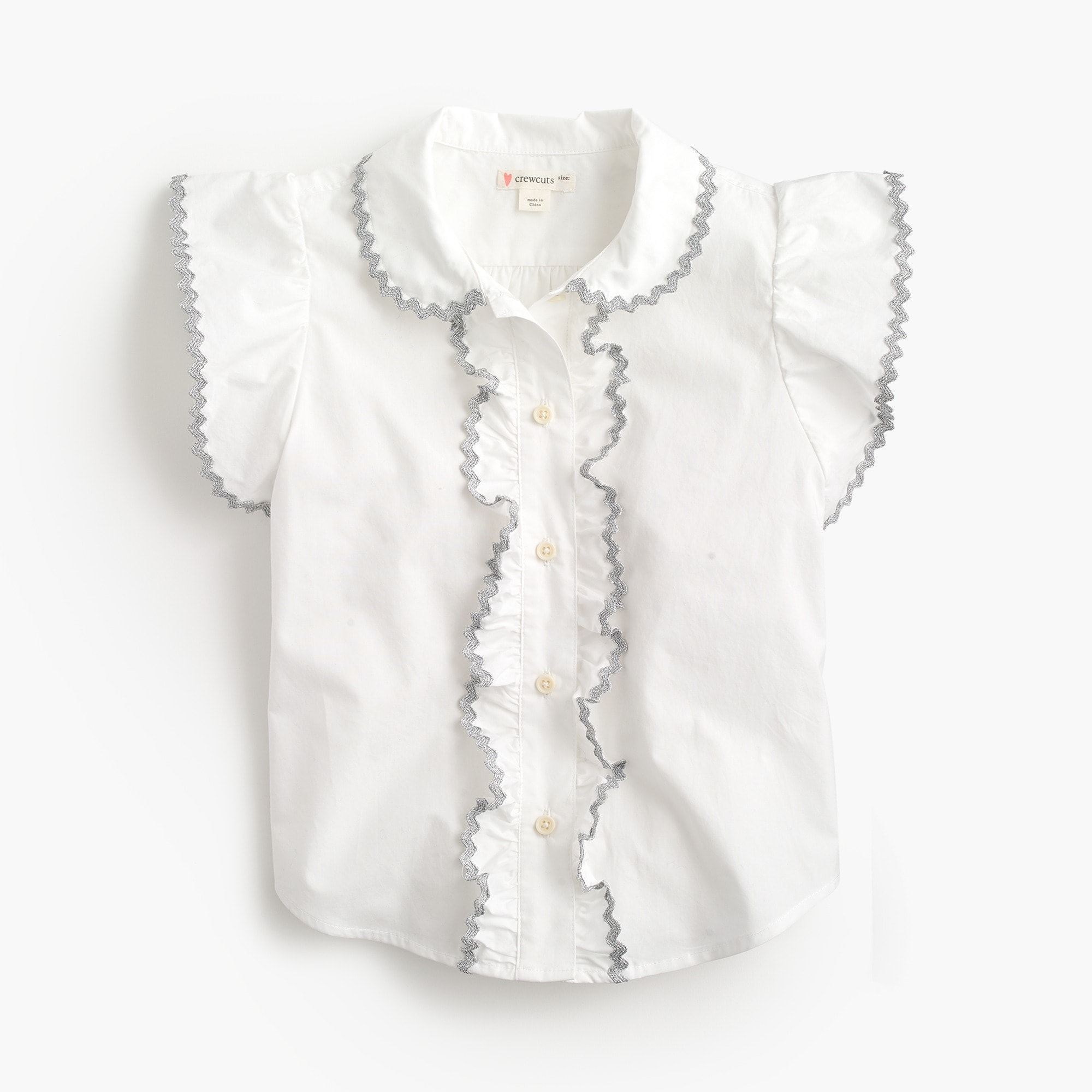 girls Girls' rickrack-trimmed shirt