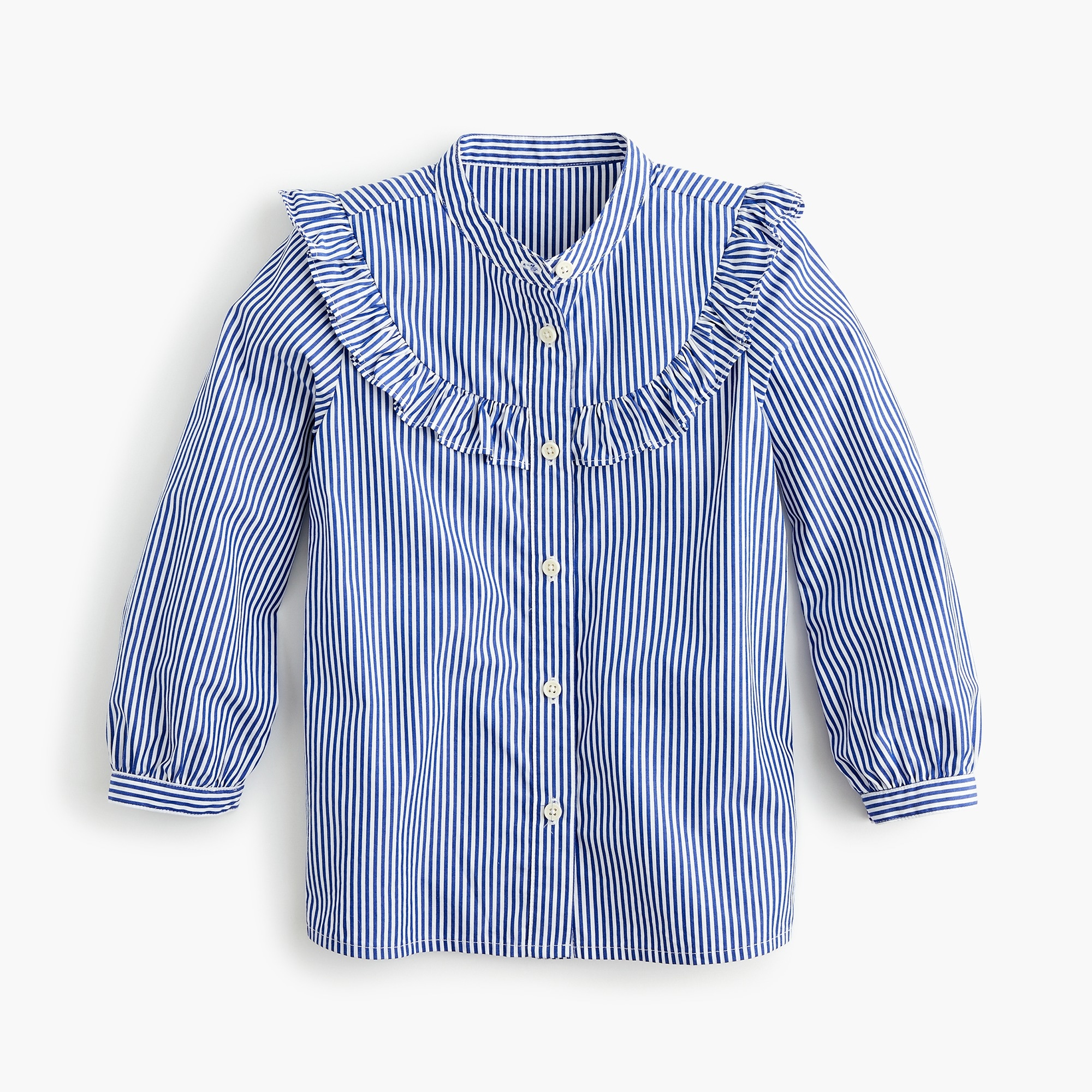 girls Girls' ruffle-trimmed shirt in stripes