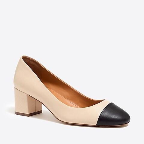 factory womens Bryn cap-toe leather block heels