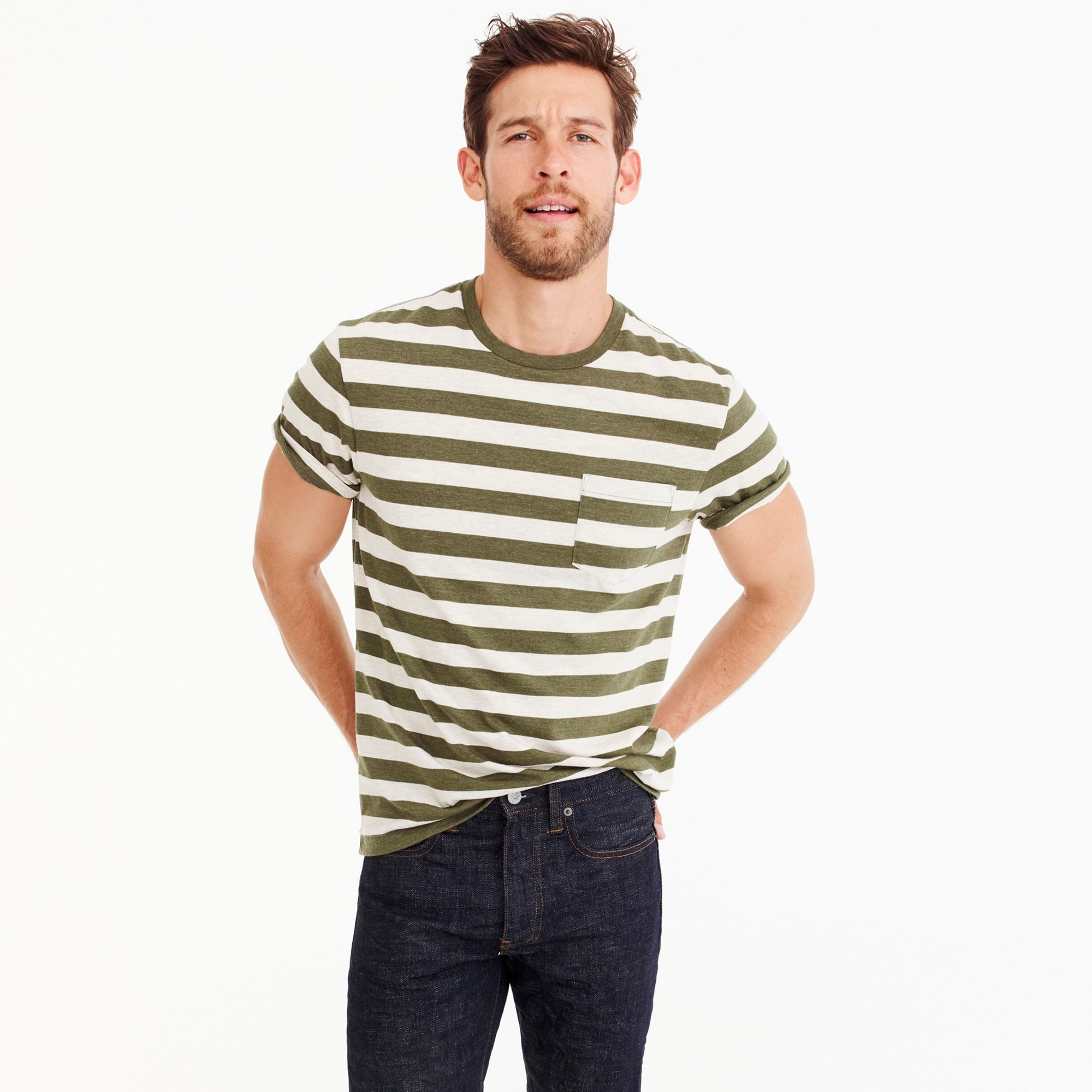 mens J.Crew Mercantile Broken-in T-shirt in Bedford stripe