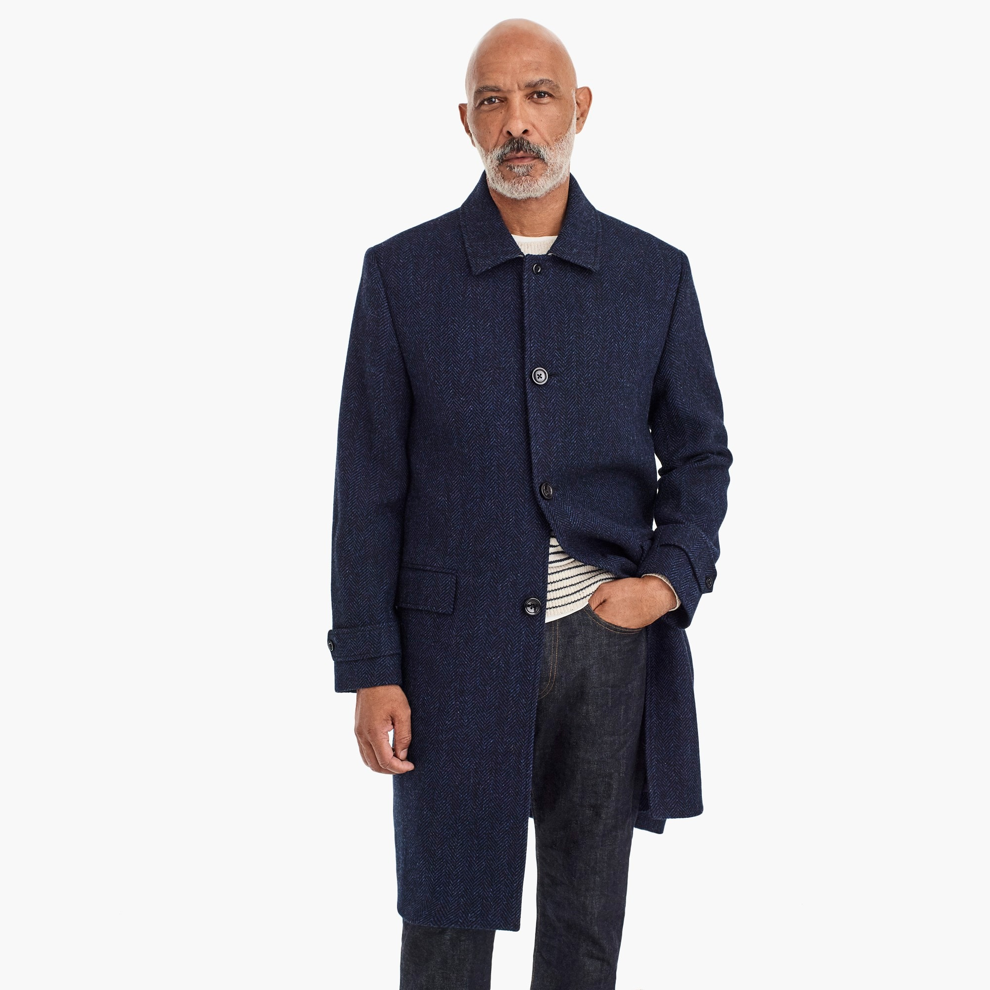 mens Oversized topcoat in heathered herringbone wool