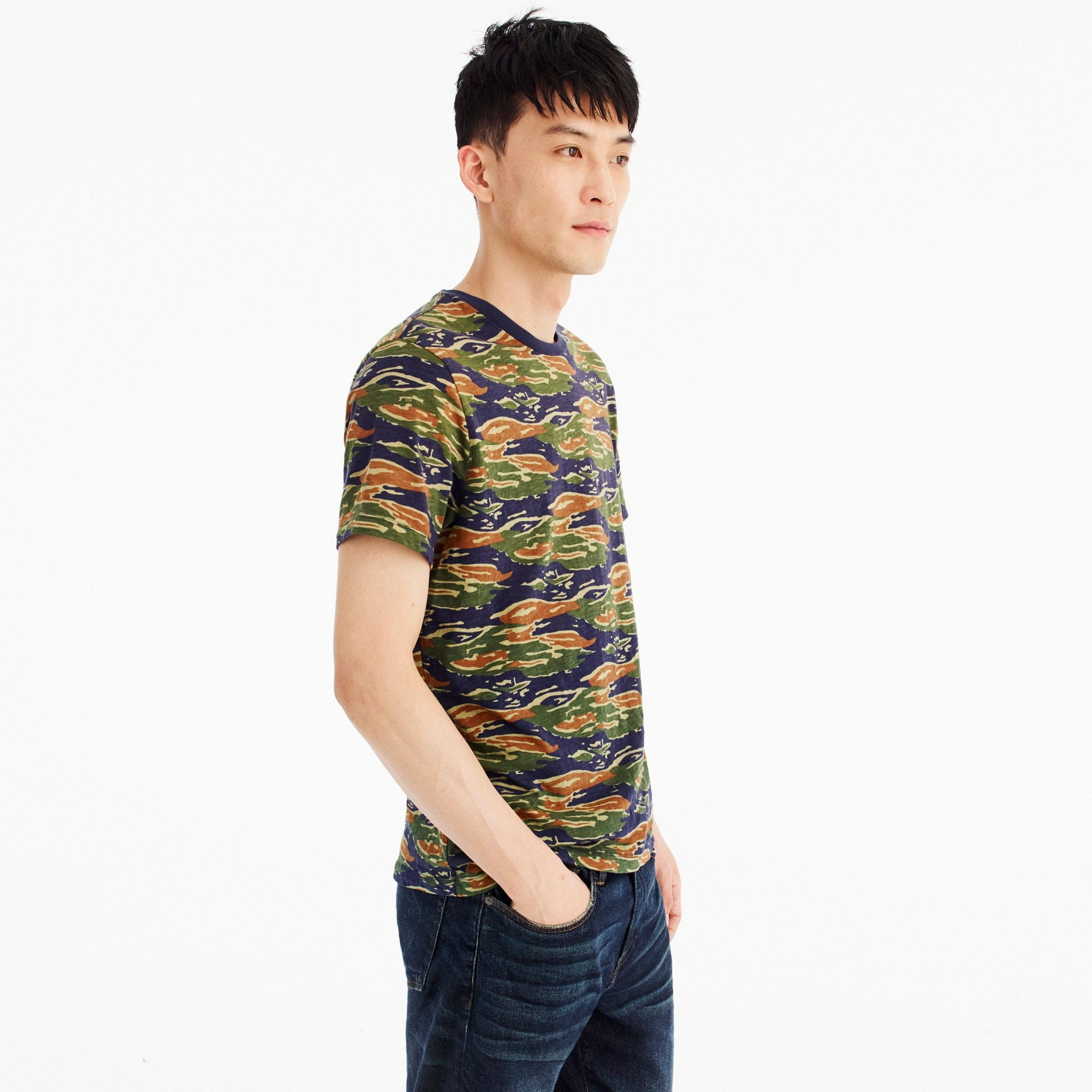 Image 3 for Broken-in cotton jersey T-shirt in tiger stripe camo