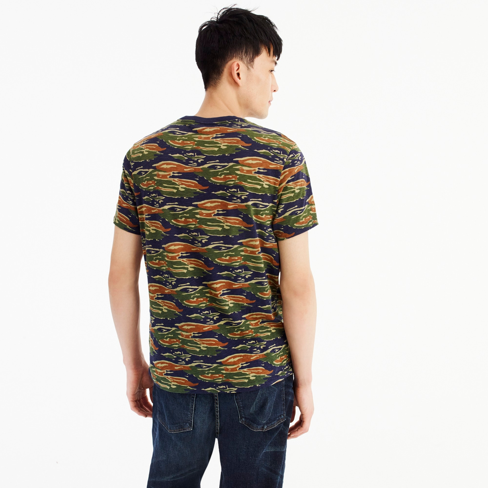 Broken-in cotton jersey T-shirt in tiger stripe camo