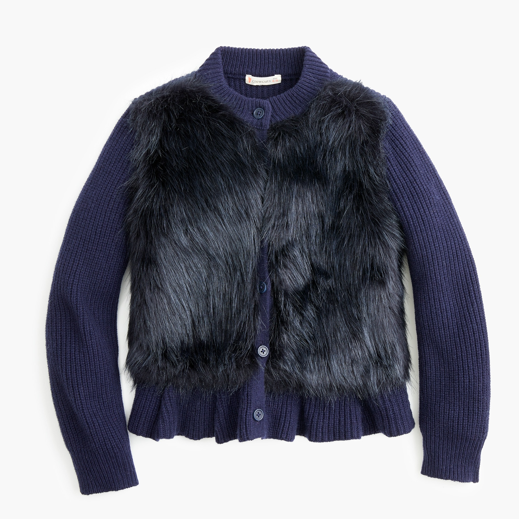 girls Girls' fur-front peplum cardigan sweater