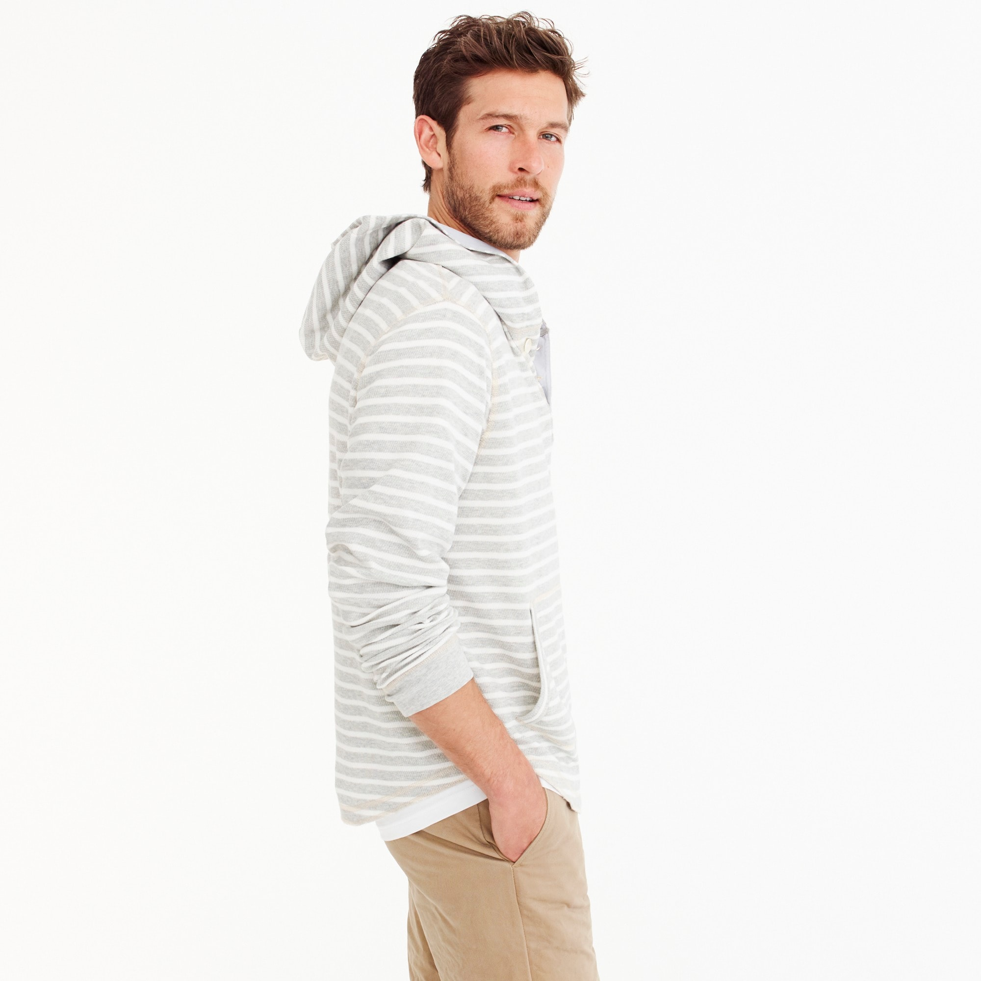 Image 3 for Tall beach thermal henley hoodie in heather grey stripe