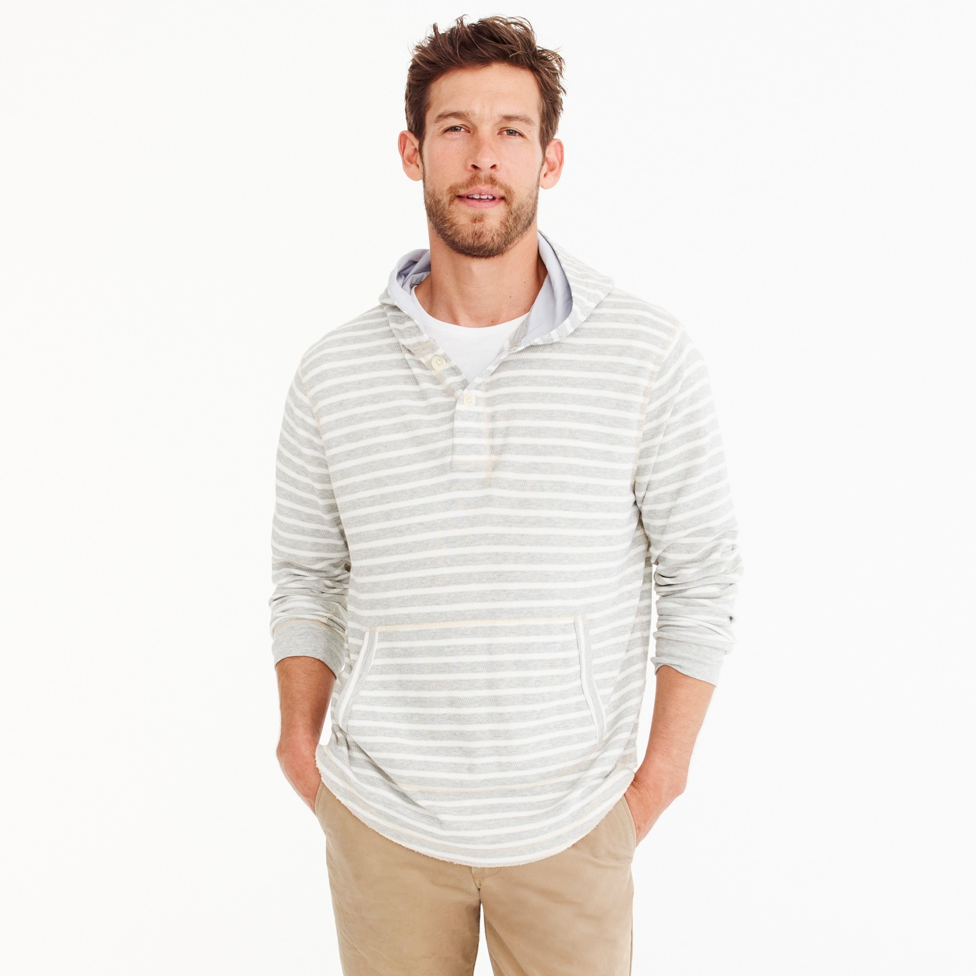 men's tall beach thermal henley hoodie in heather grey stripe - men's knits