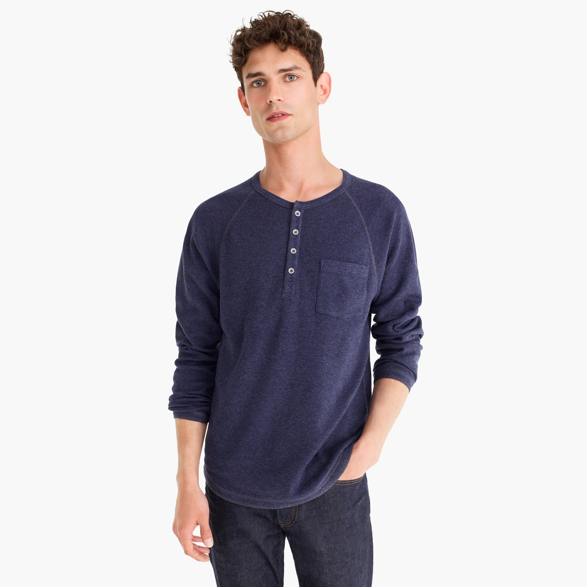 Tall beach thermal raglan-sleeve henley