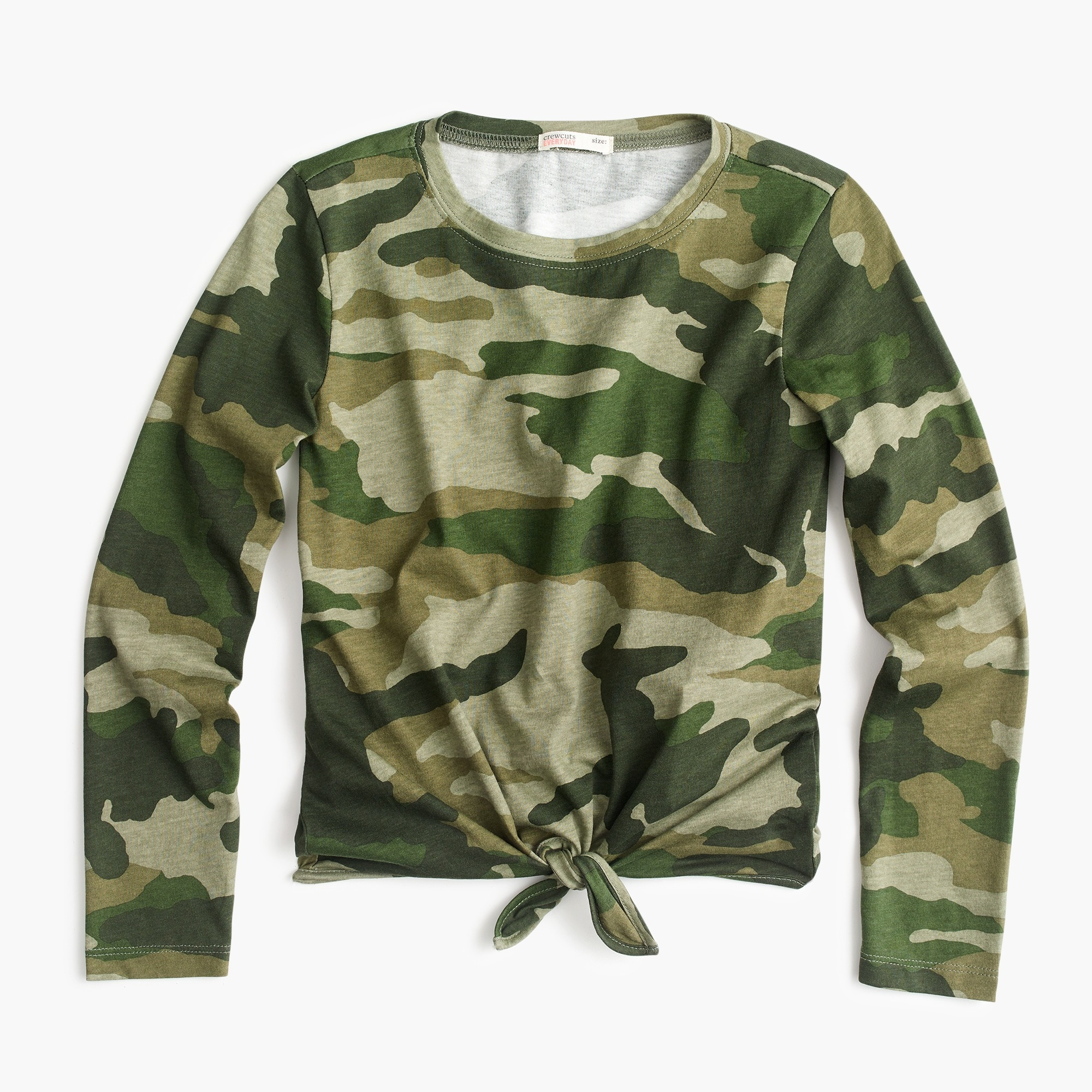 Girls' tie-front long-sleeve T-shirt in camo