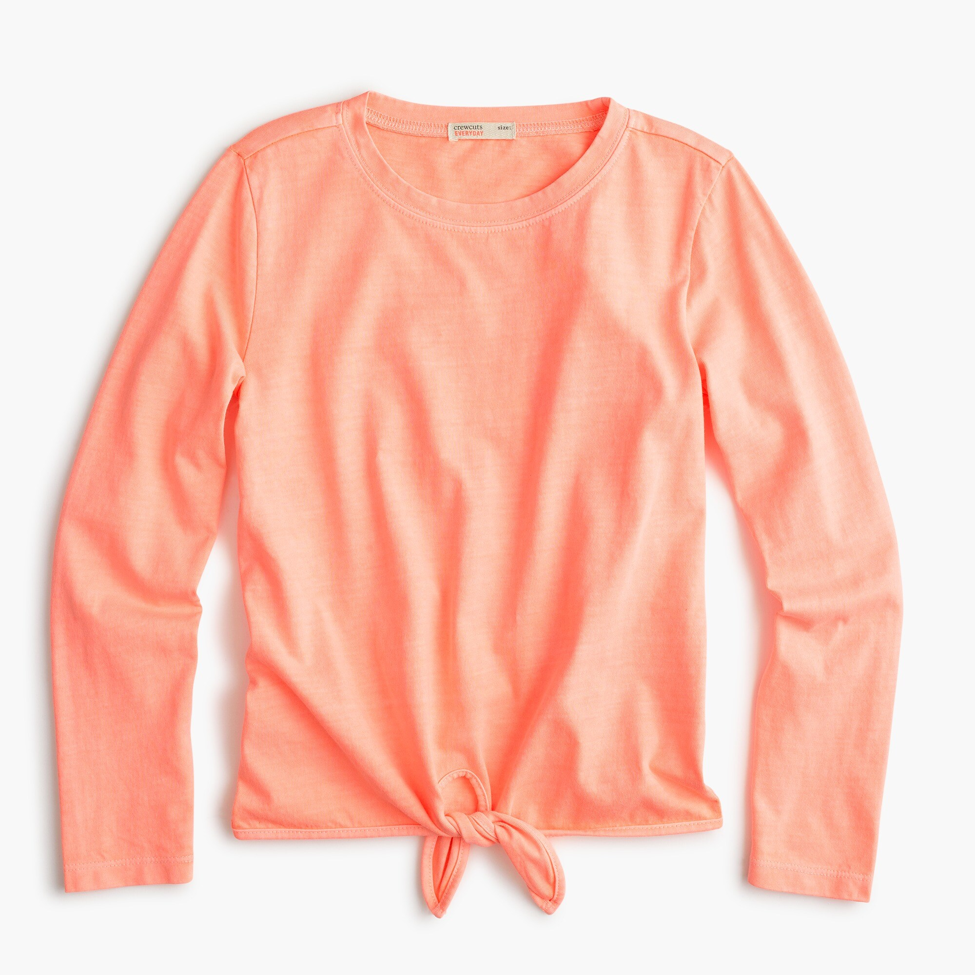 Girls' tie-front long-sleeve T-shirt