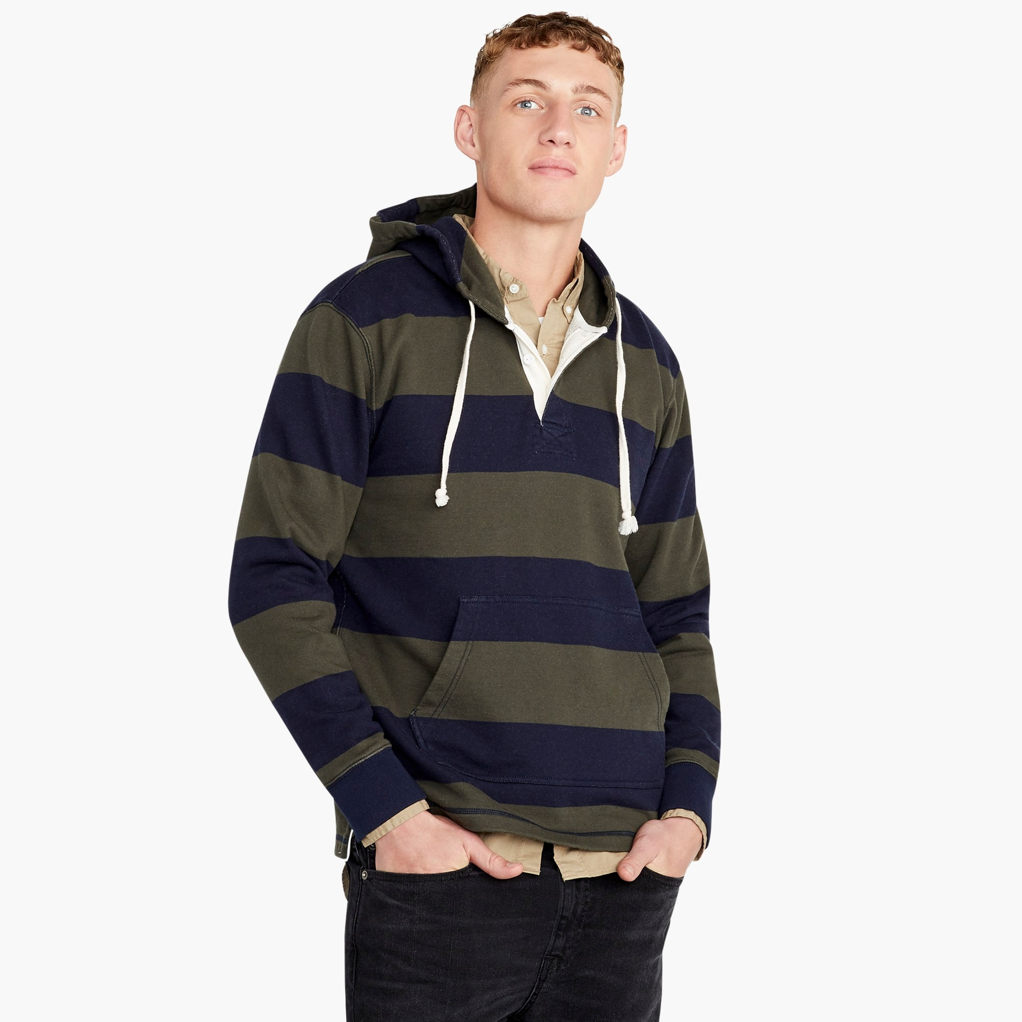 tall french terry rugby hoodie : men pullovers