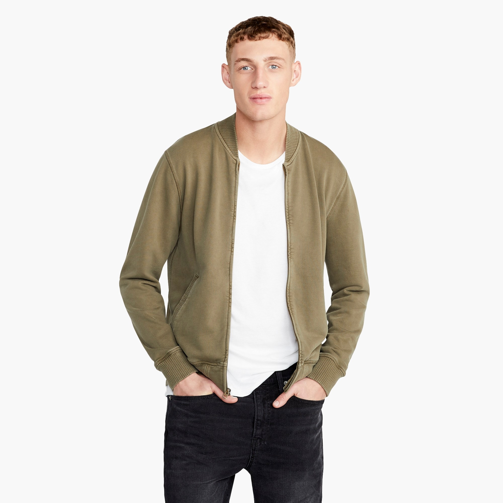 Tall French terry bomber jacket in green