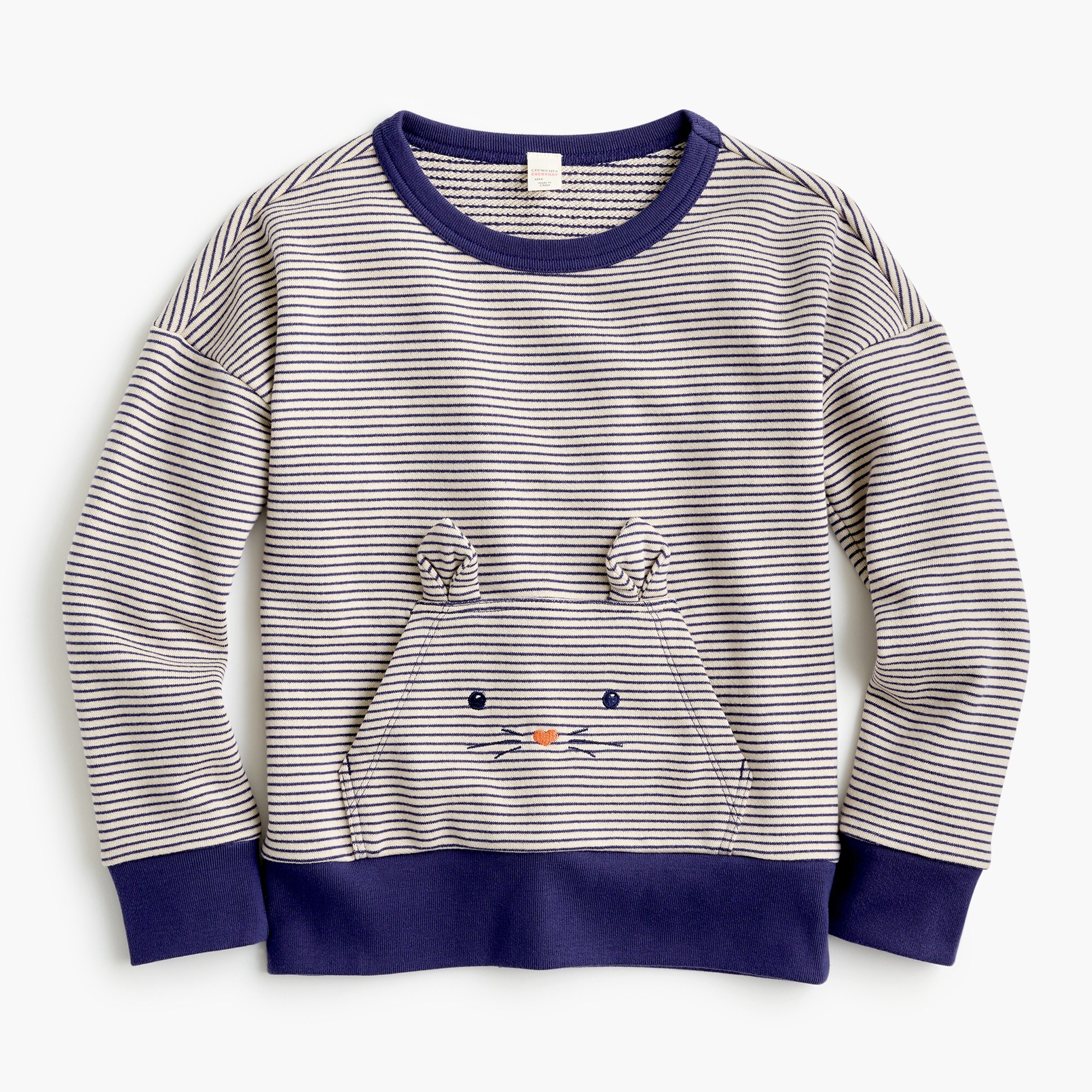 Girls' striped kitty-pocket popover sweatshirt