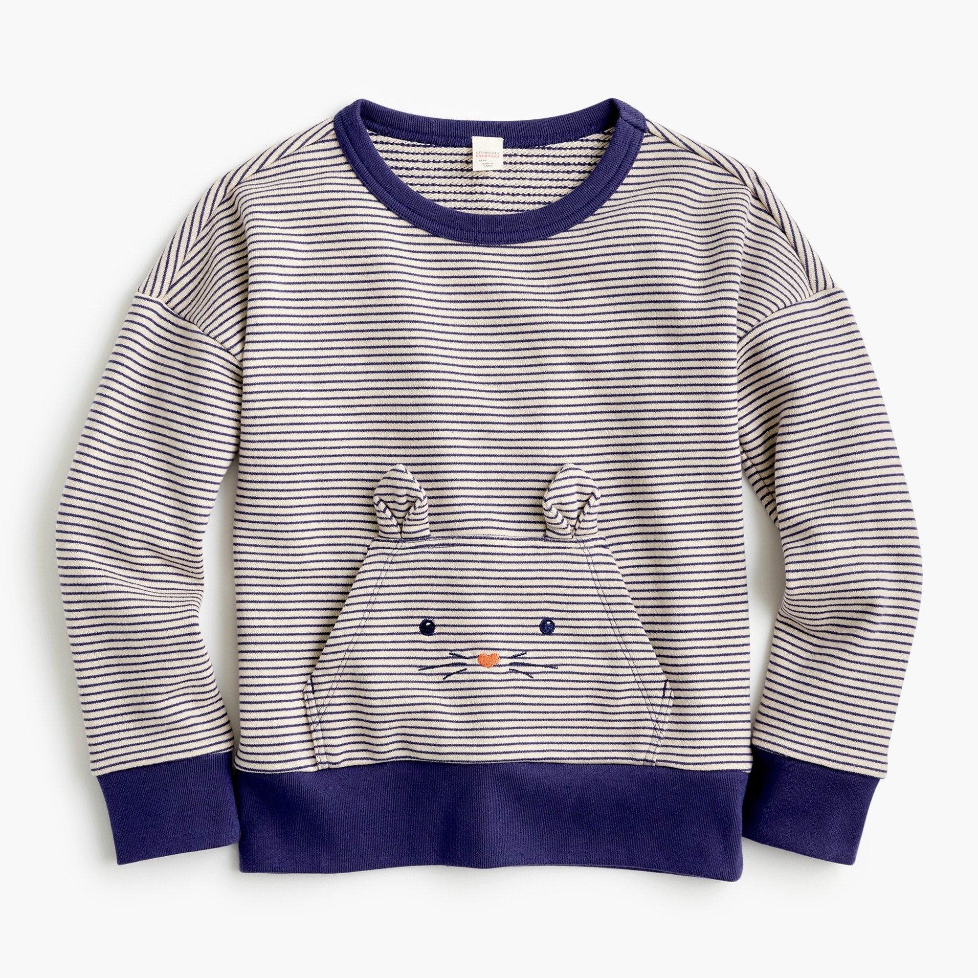 girls' striped kitty-pocket popover sweatshirt - girls' tops