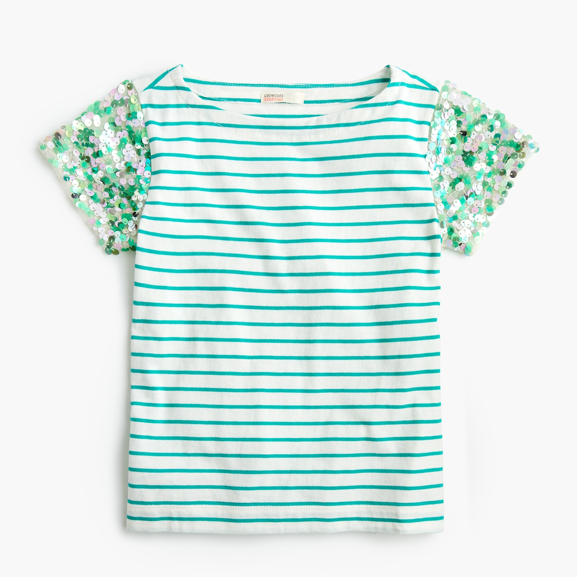 Girls' striped T-shirt with sequin sleeves