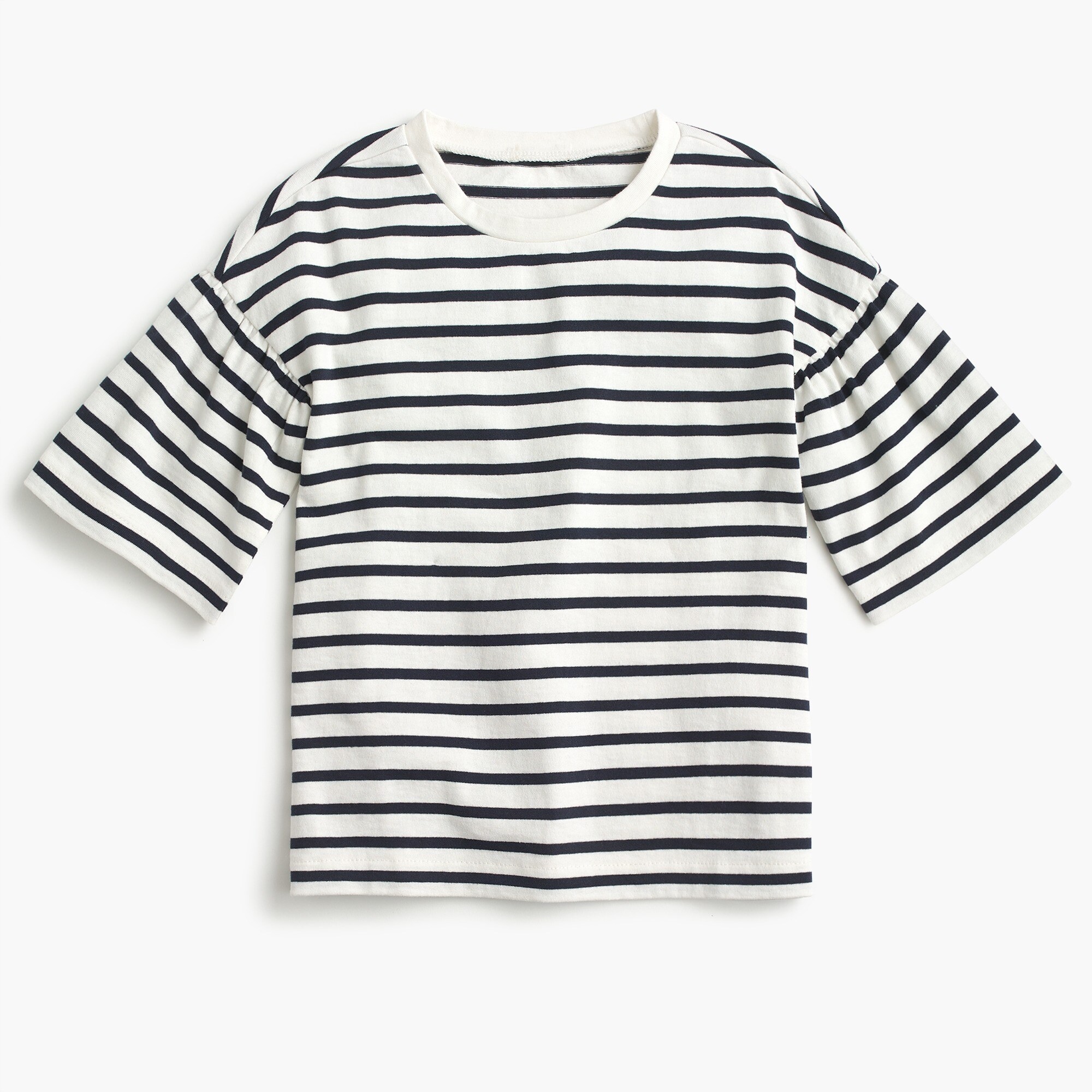 girls Girls' gathered-sleeve T-shirt in stripes