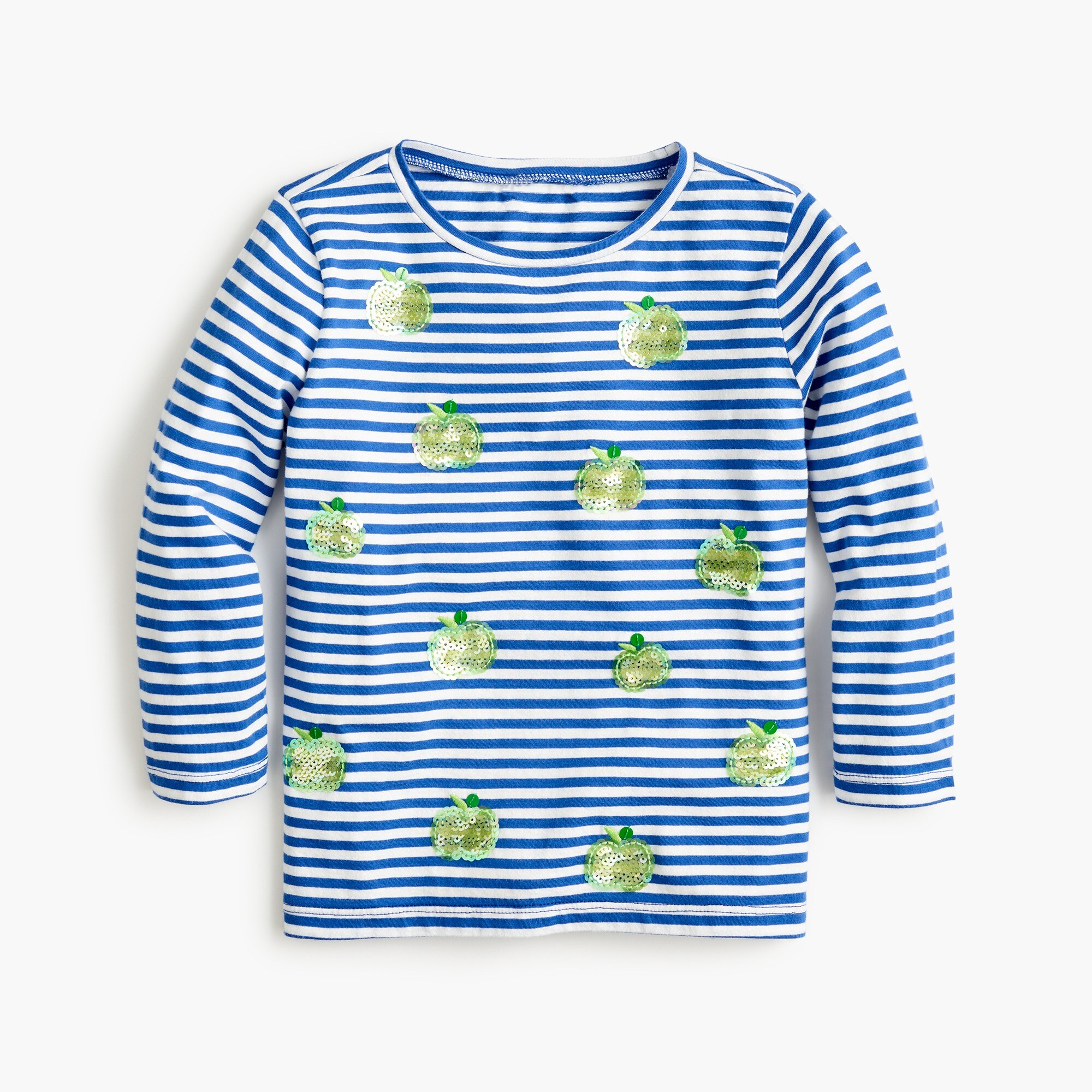 Girls' striped T-shirt with apples