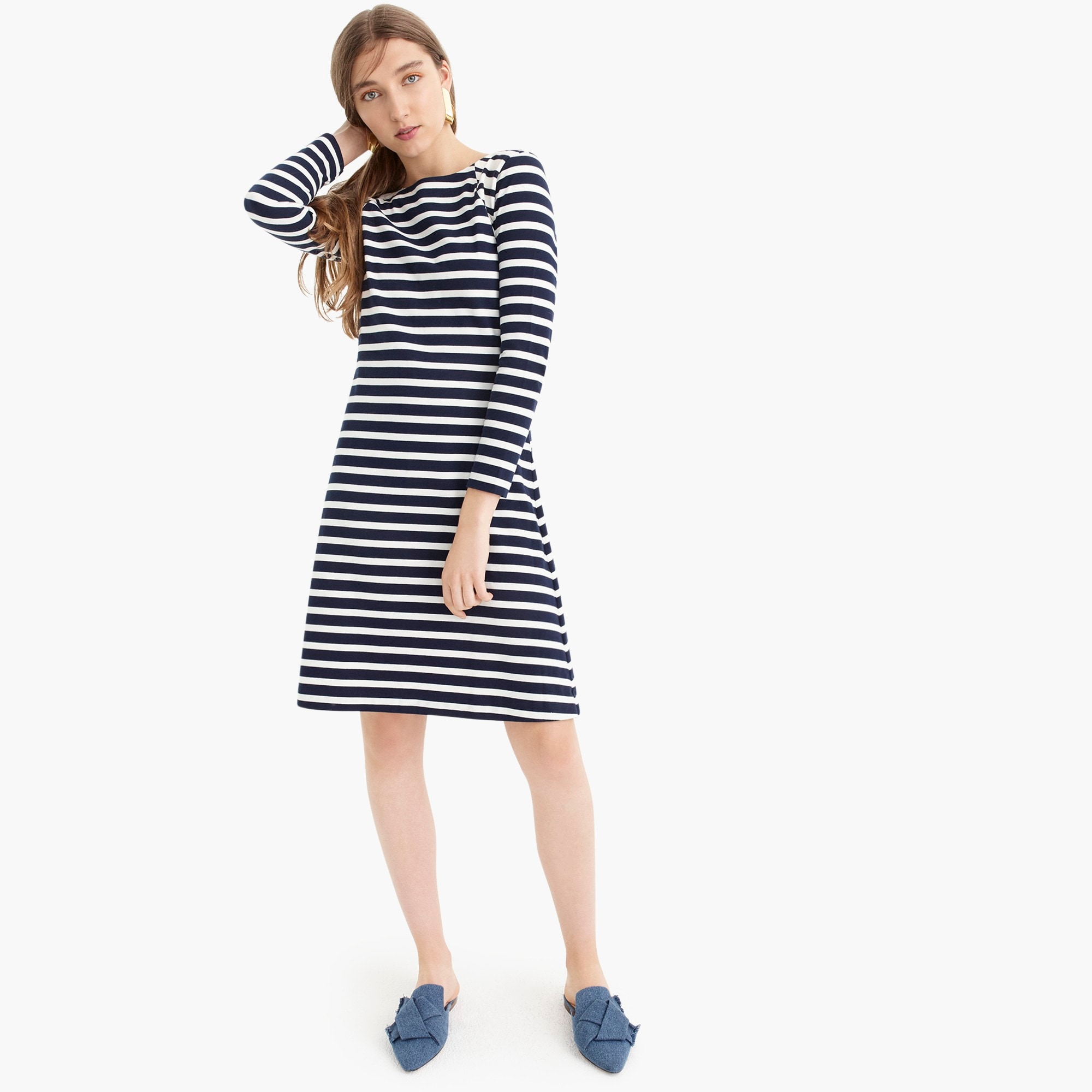 womens J.Crew 365 knit fit-and-flare dress in stripe