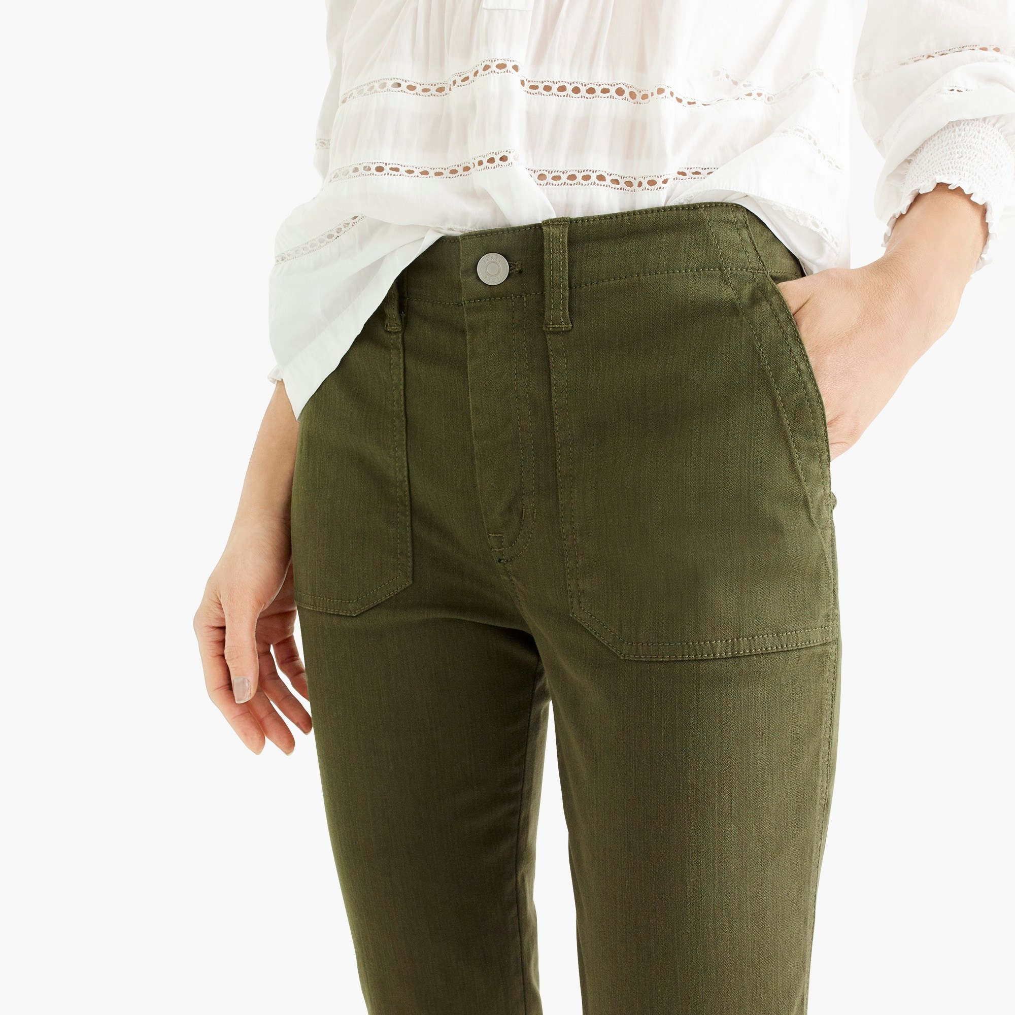 Image 4 for Petite vintage straight cargo pant in slub sateen