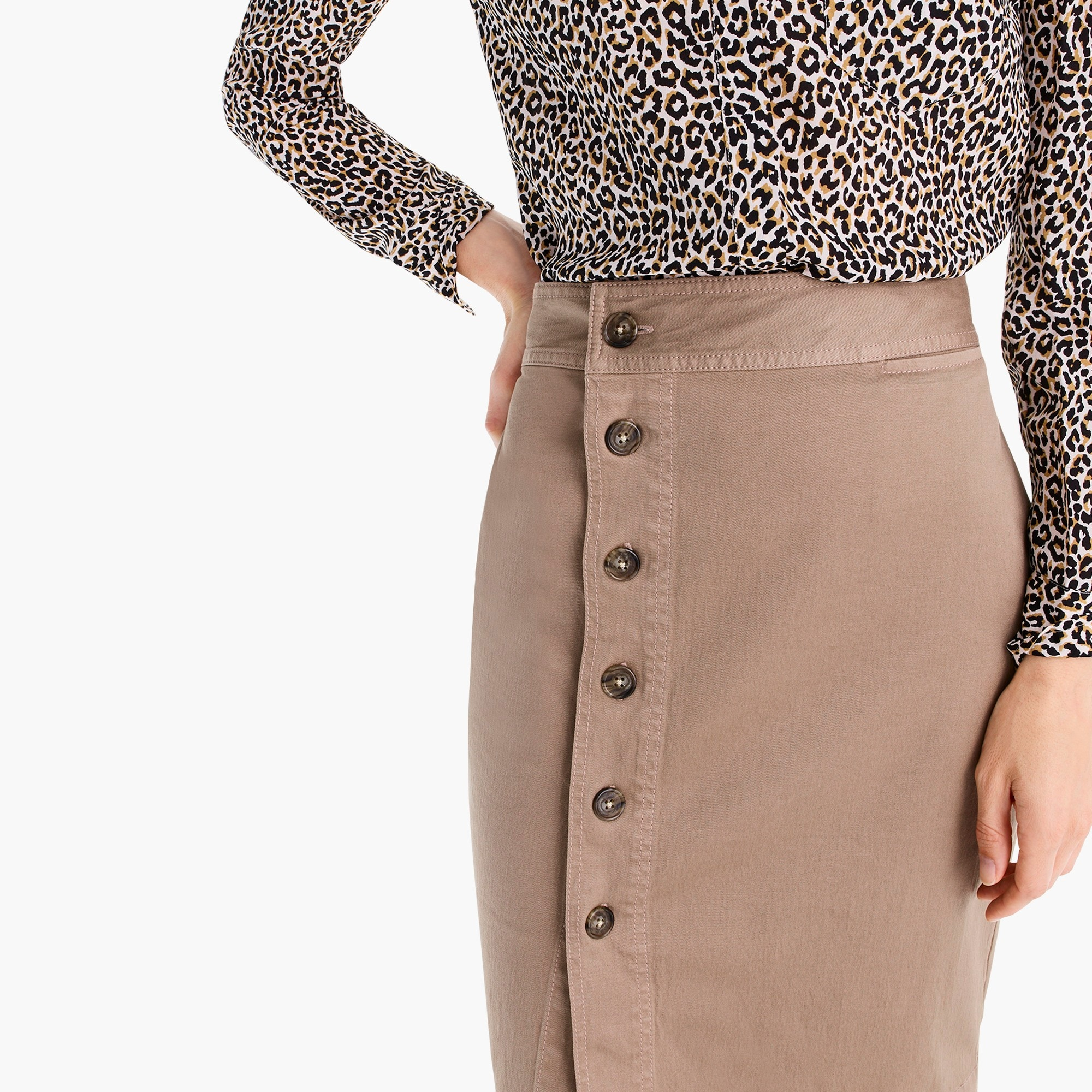 Tall side-button pencil skirt in stretch chino