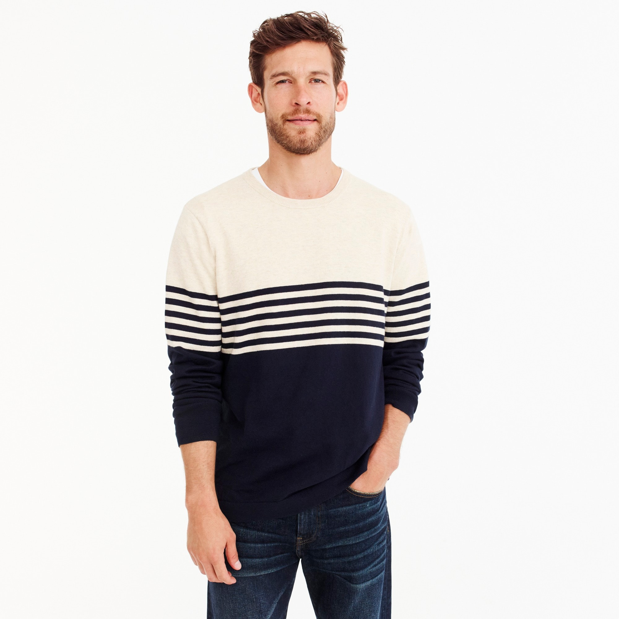 mens Cotton crew neck sweater in colorblock stripe
