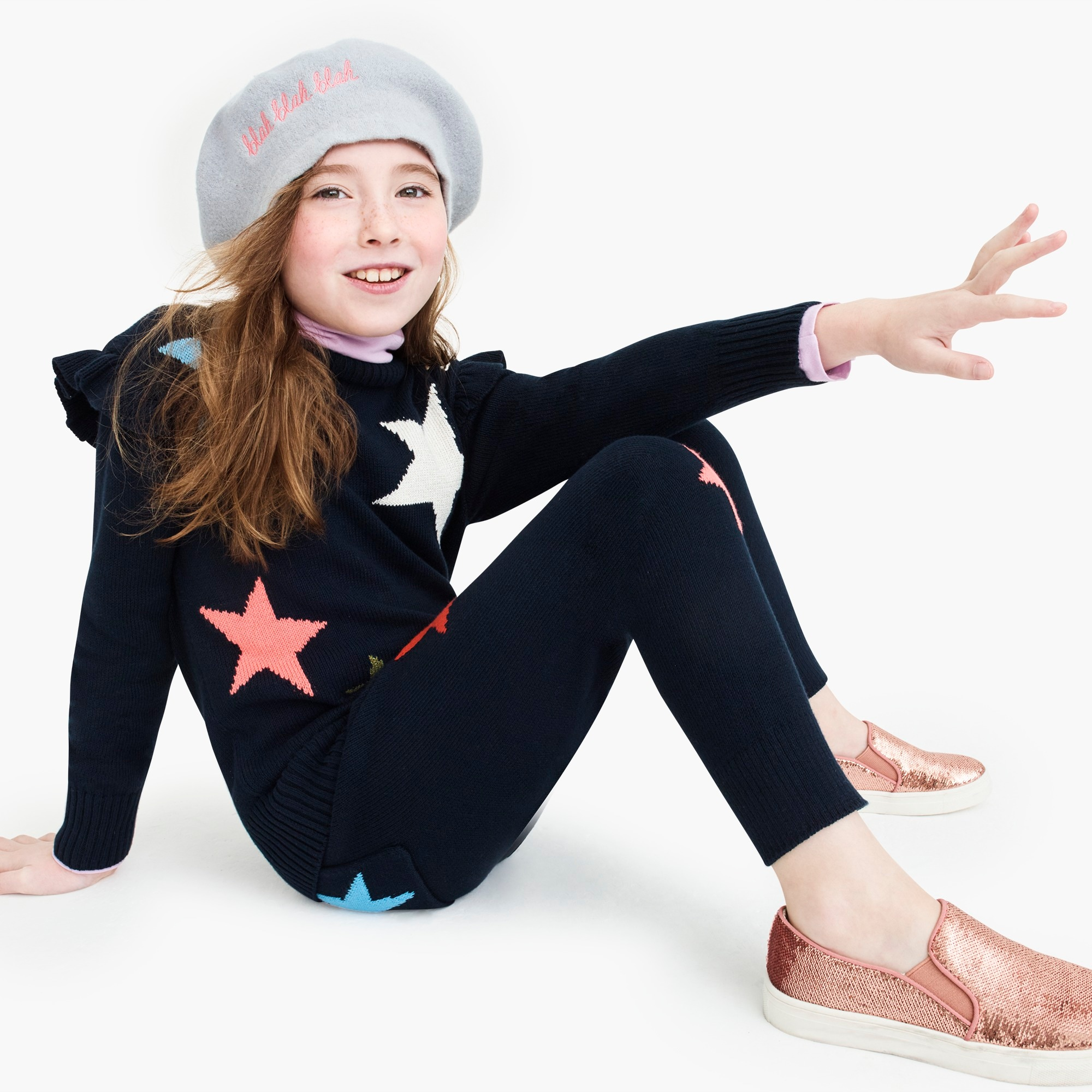 girls Girls' ruffle-trimmed popover sweater with stars