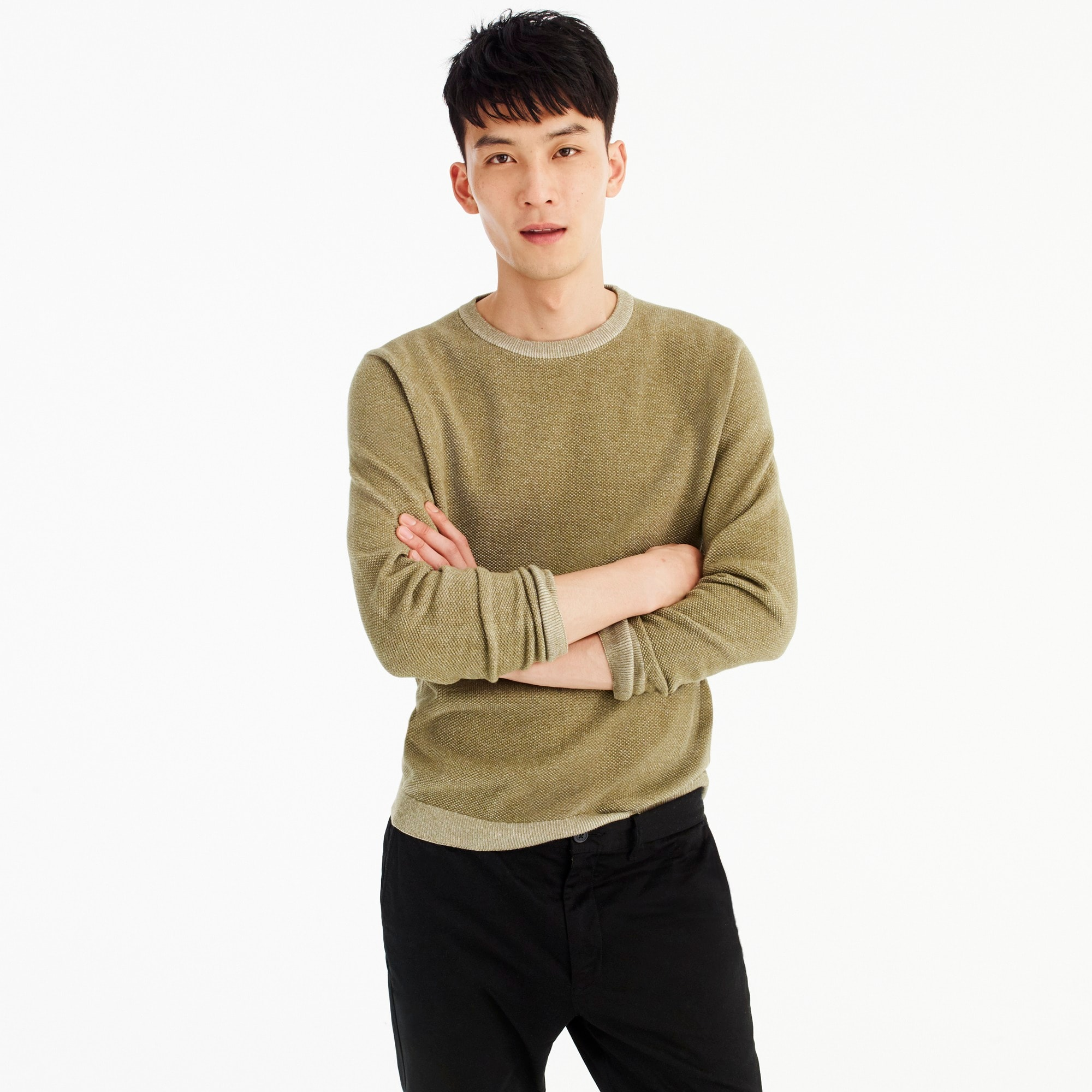 mens Cotton plaited texture crew neck sweater