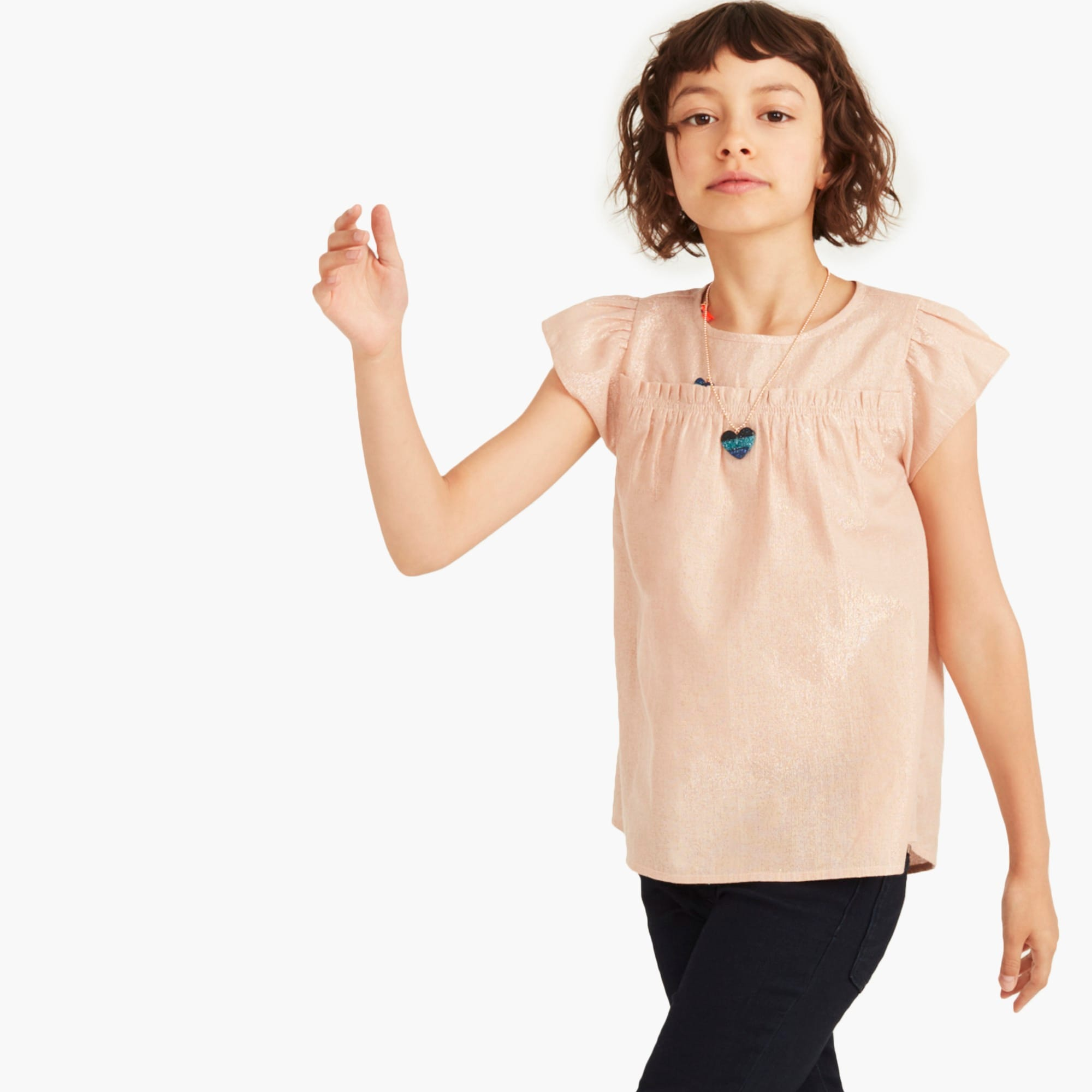 girls' ruffle-trimmed top in lamé - girls' tees