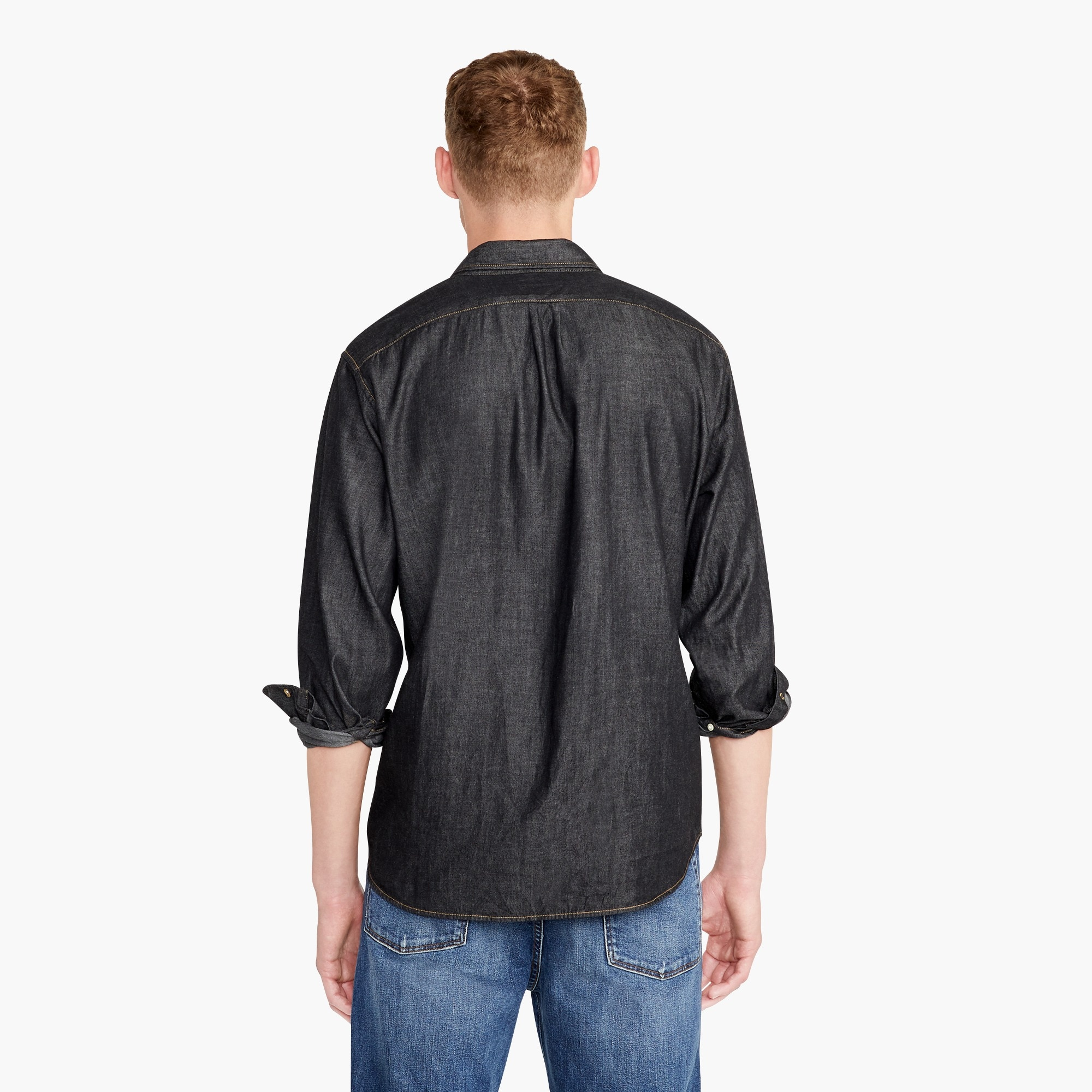 Image 4 for Slim lightweight denim shirt in black