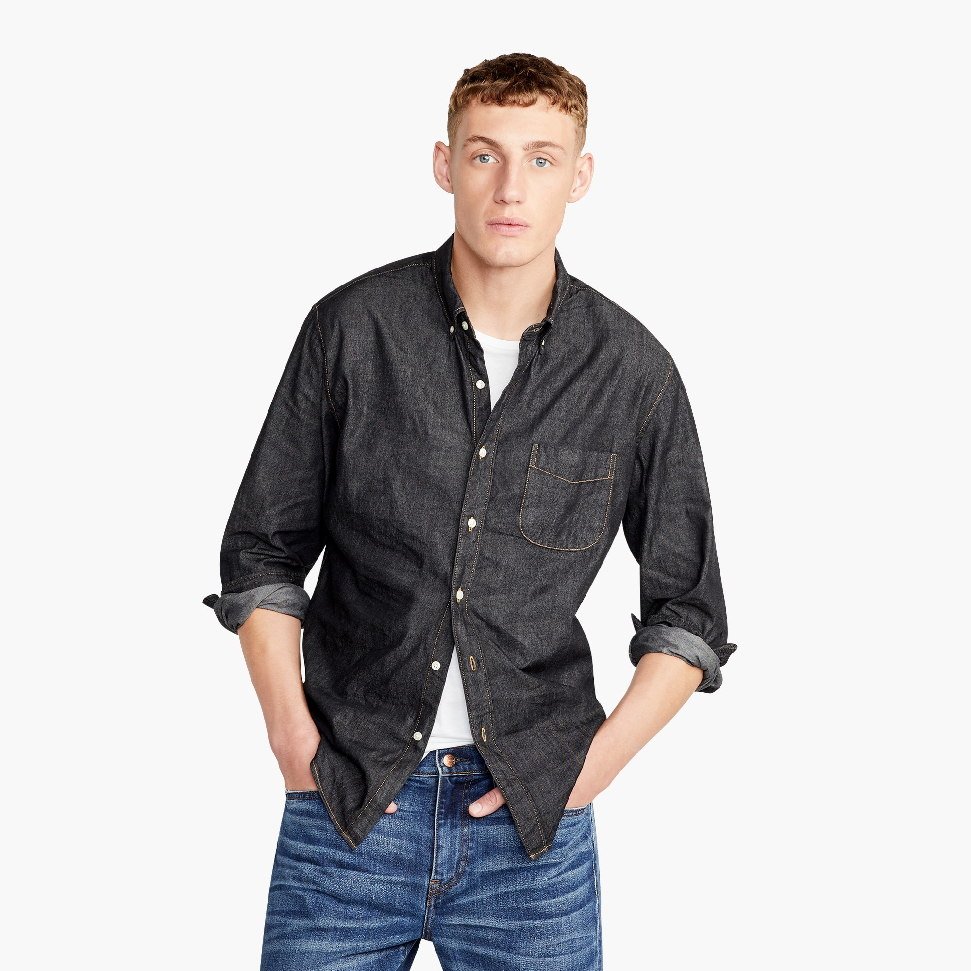 Slim lightweight denim shirt in black