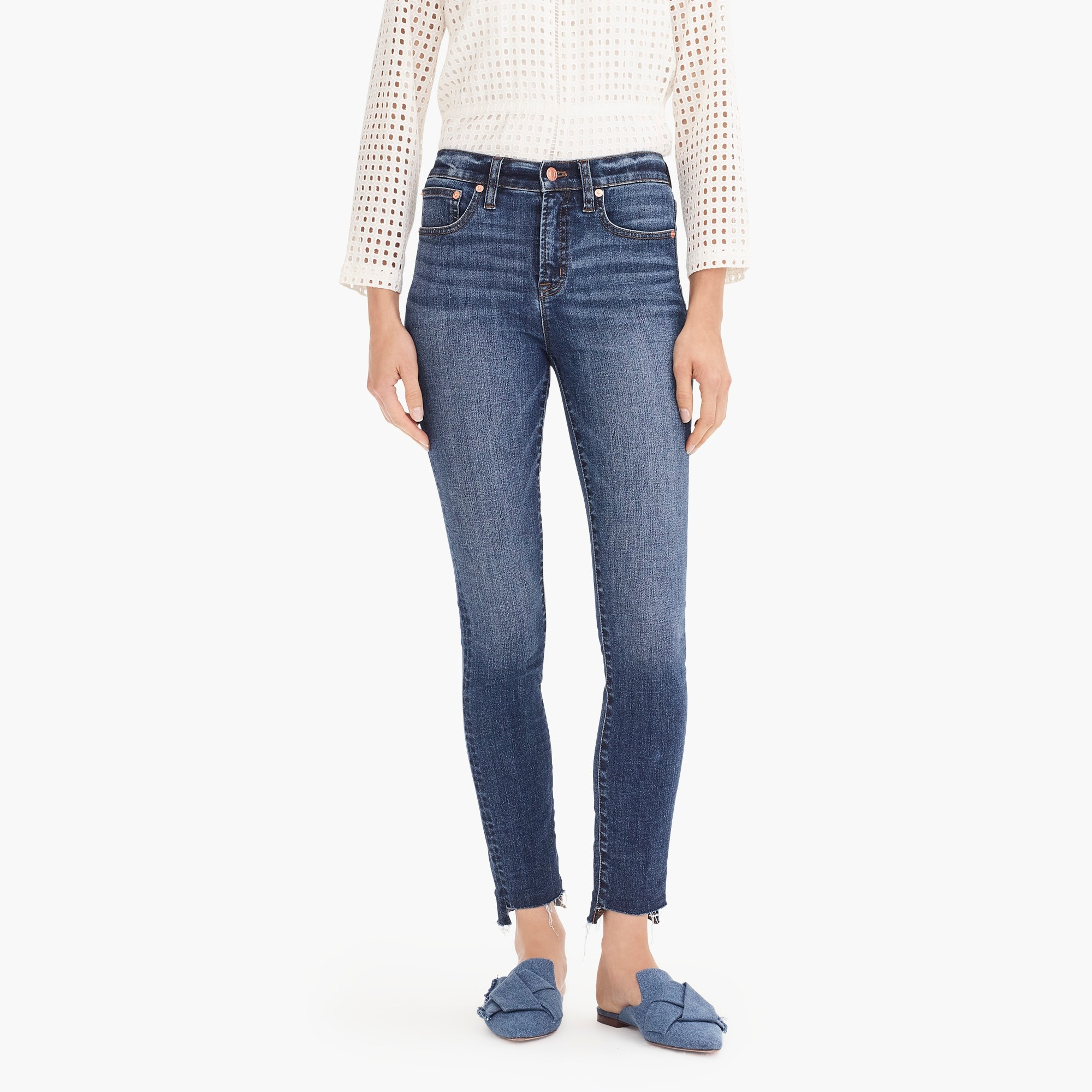 "Image 3 for 9"" high-rise toothpick jean with step hem"