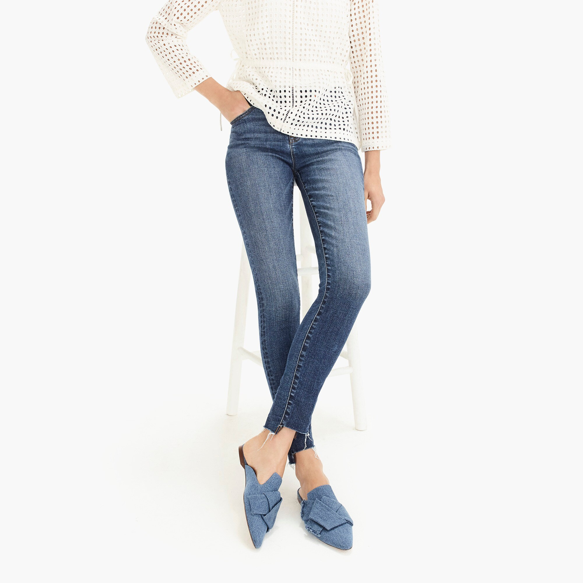 "Image 1 for 9"" high-rise toothpick jean with step hem"