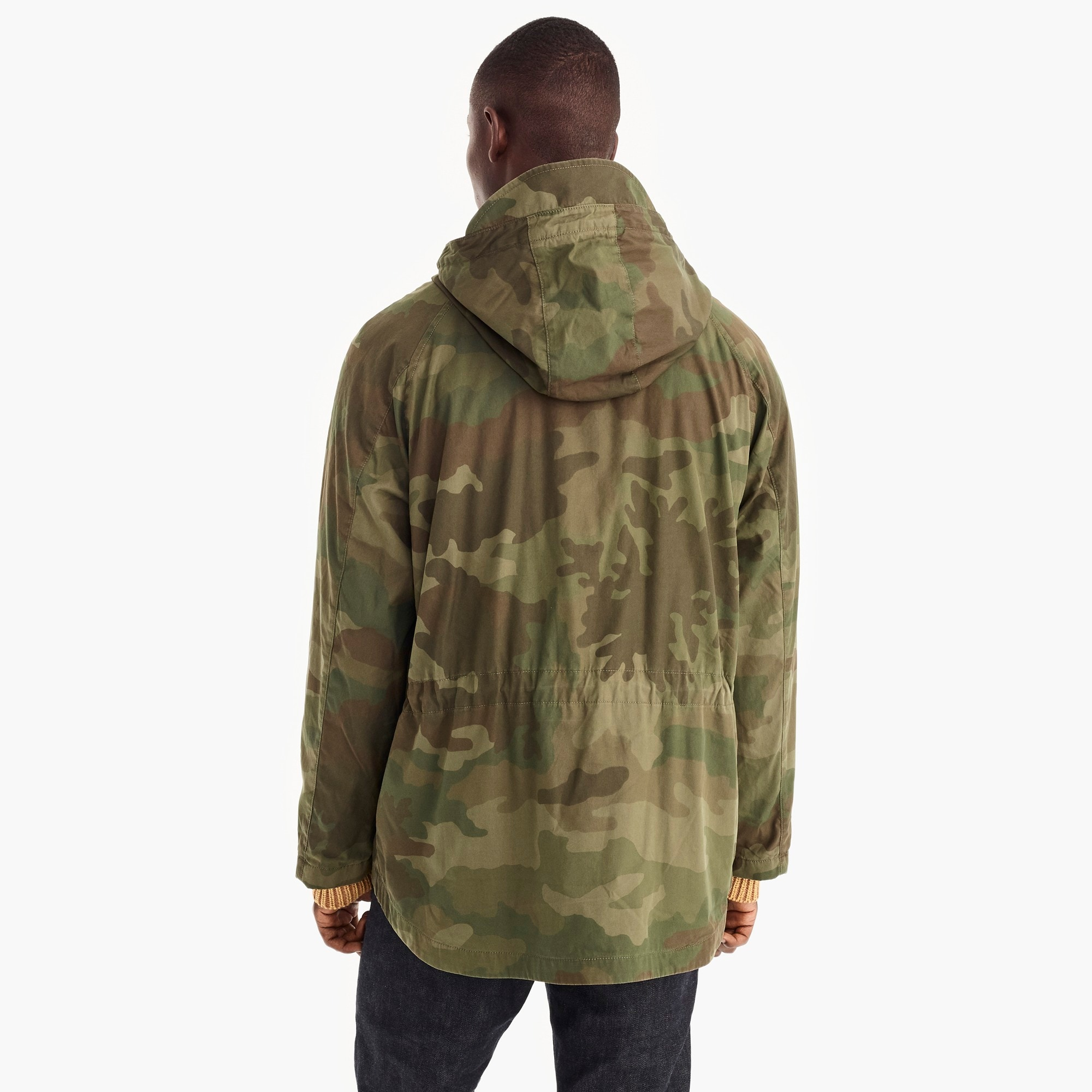 Cotton-nylon hooded jacket in camo