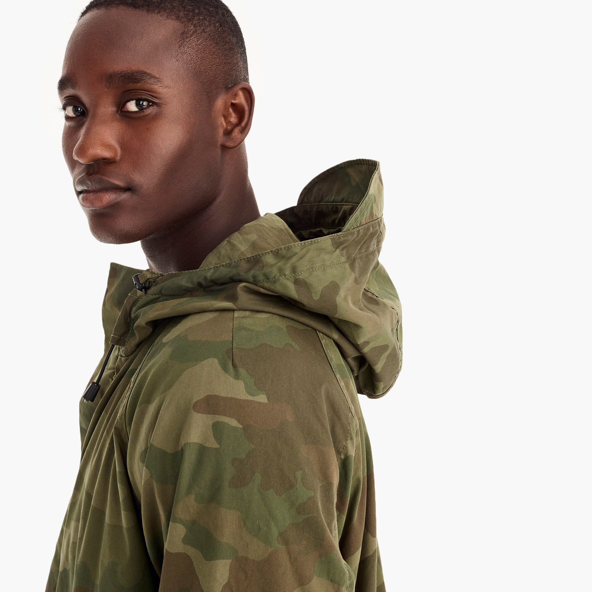 Image 4 for Cotton-nylon hooded jacket in camo
