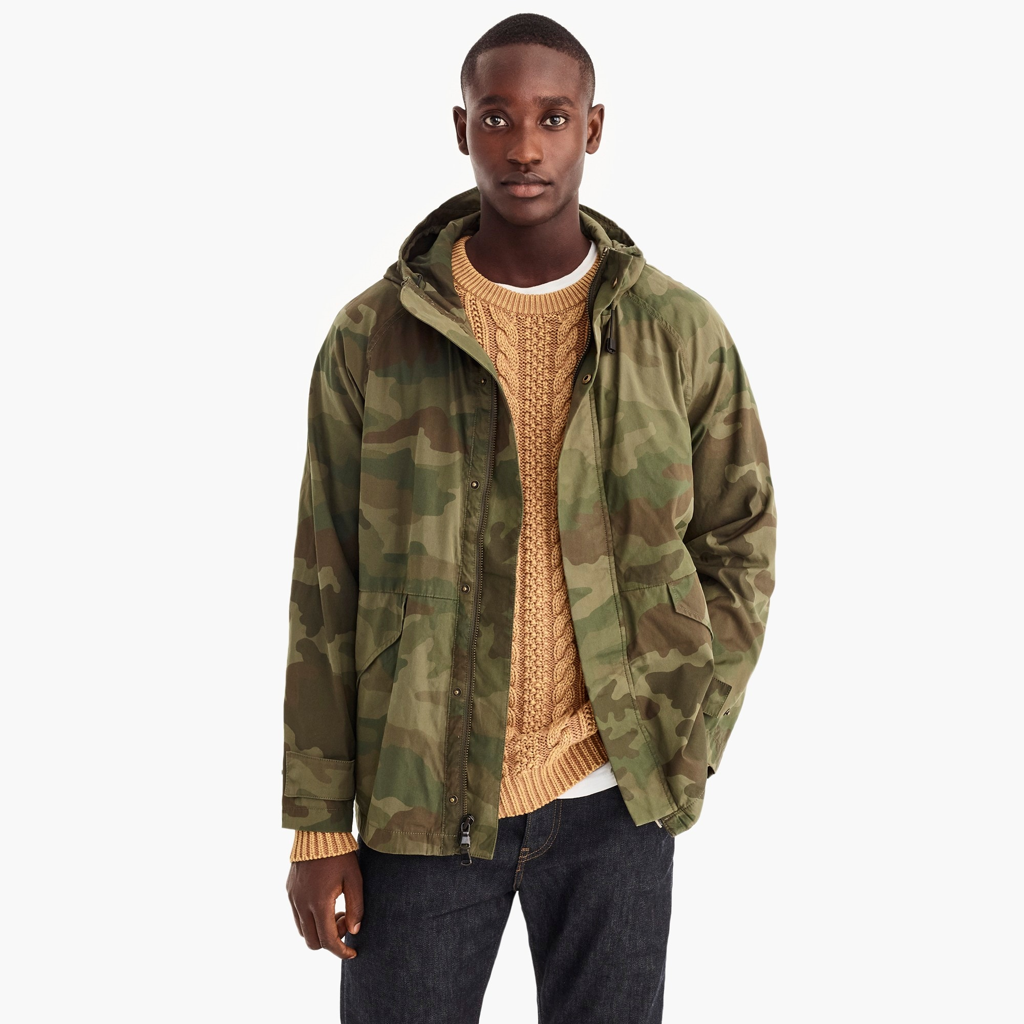 cotton-nylon hooded jacket in camo : men lightweight jackets
