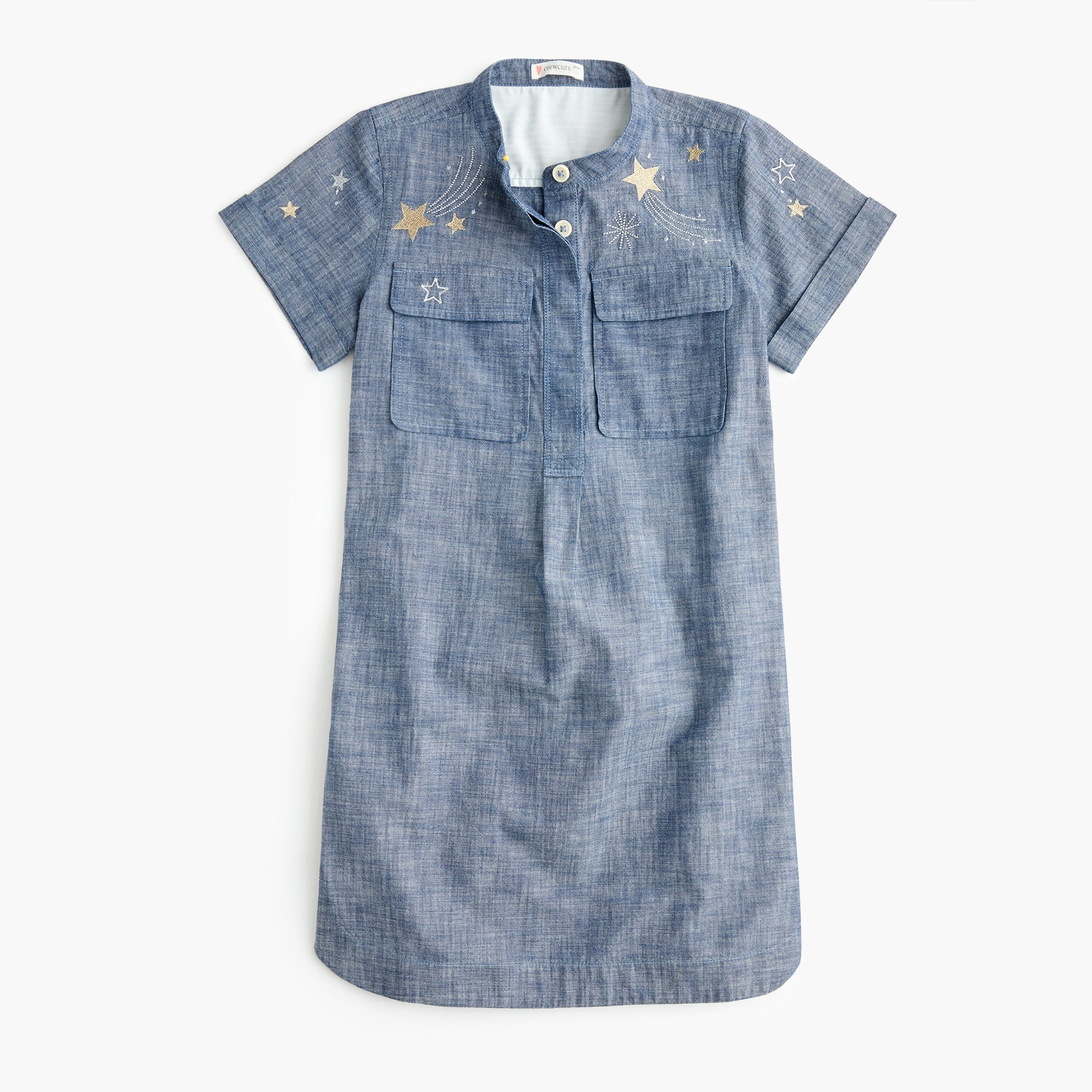 girls' chambray popover dress with shooting stars : girl day