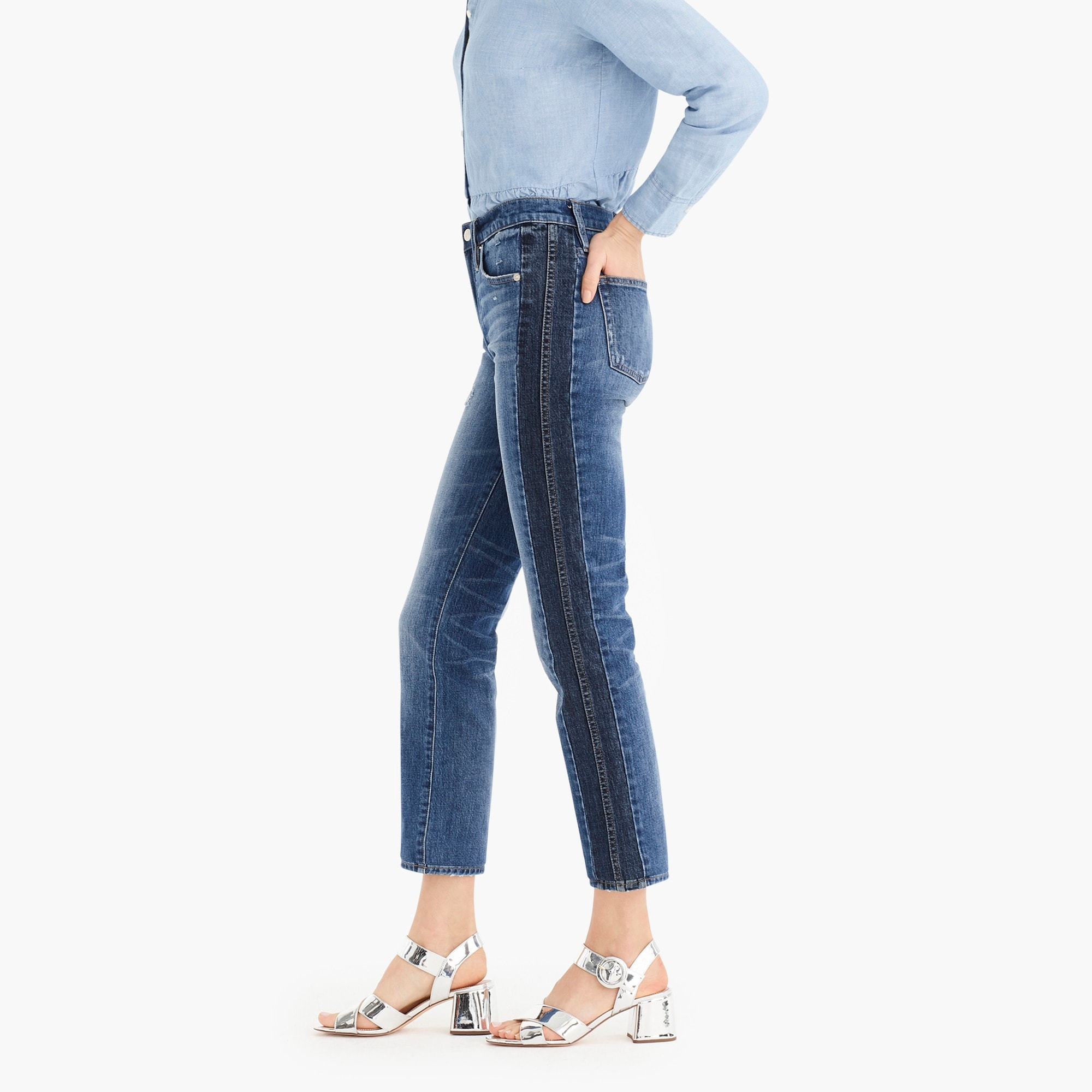 Petite vintage straight jean in two-tone denim