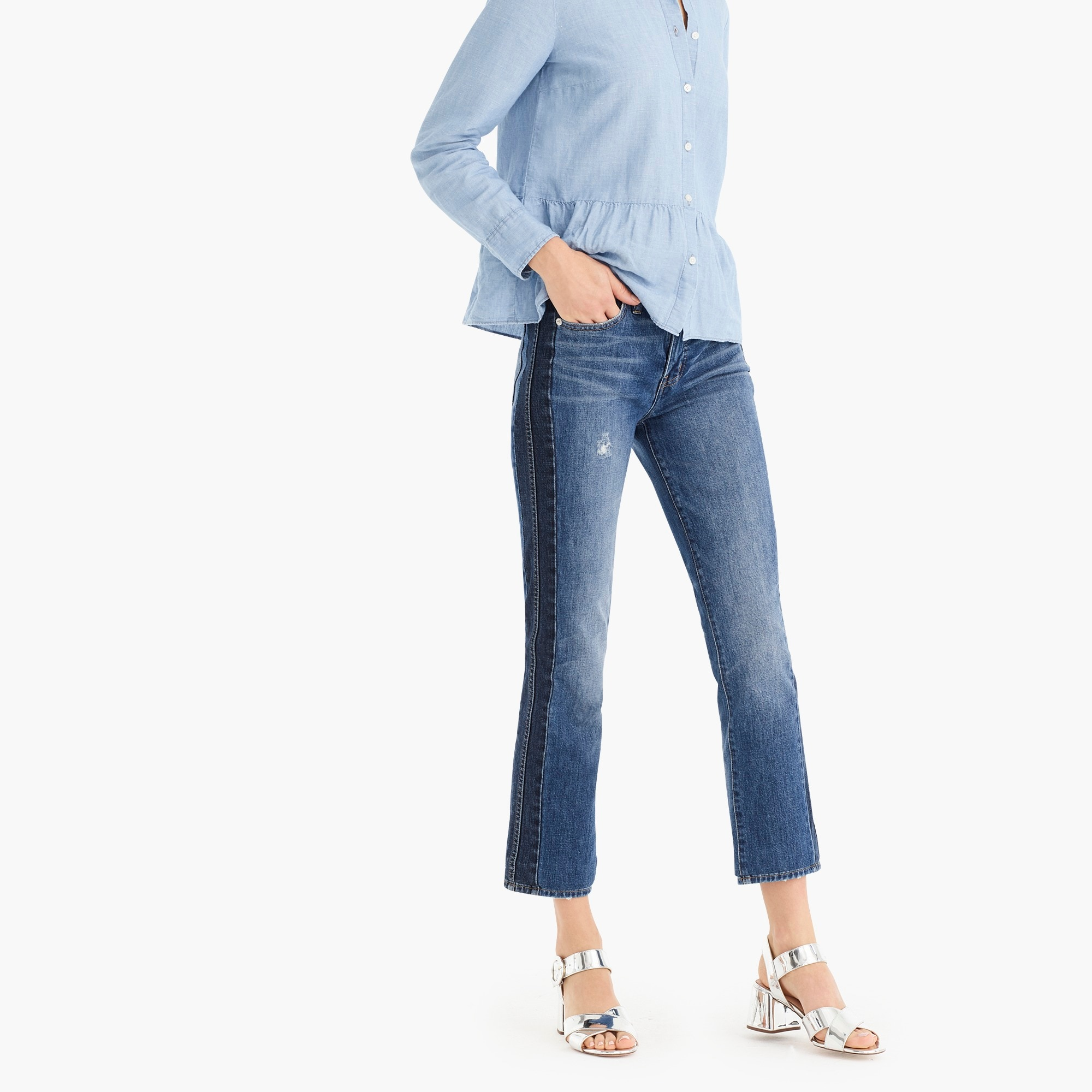 womens Vintage straight jean in two-tone denim