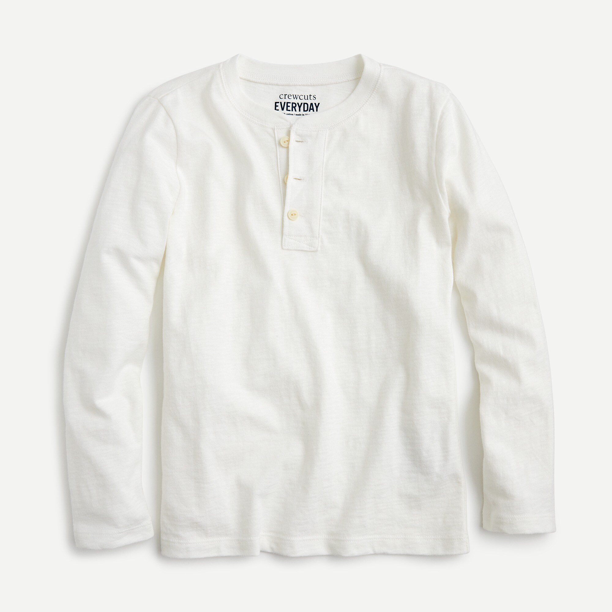 Boys' long-sleeve henley shirt in slub cotton
