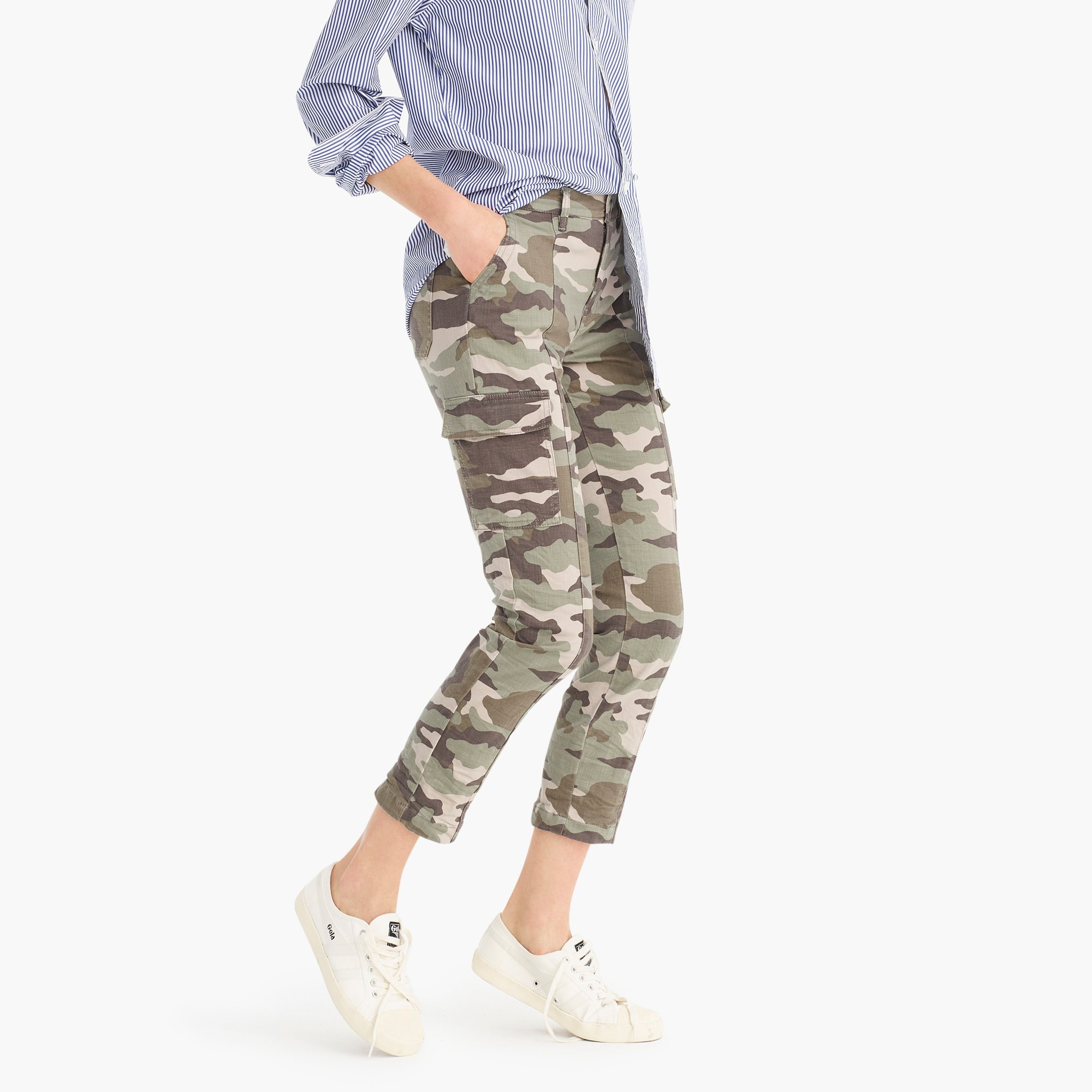 womens Tall Vintage straight cargo pant in camo
