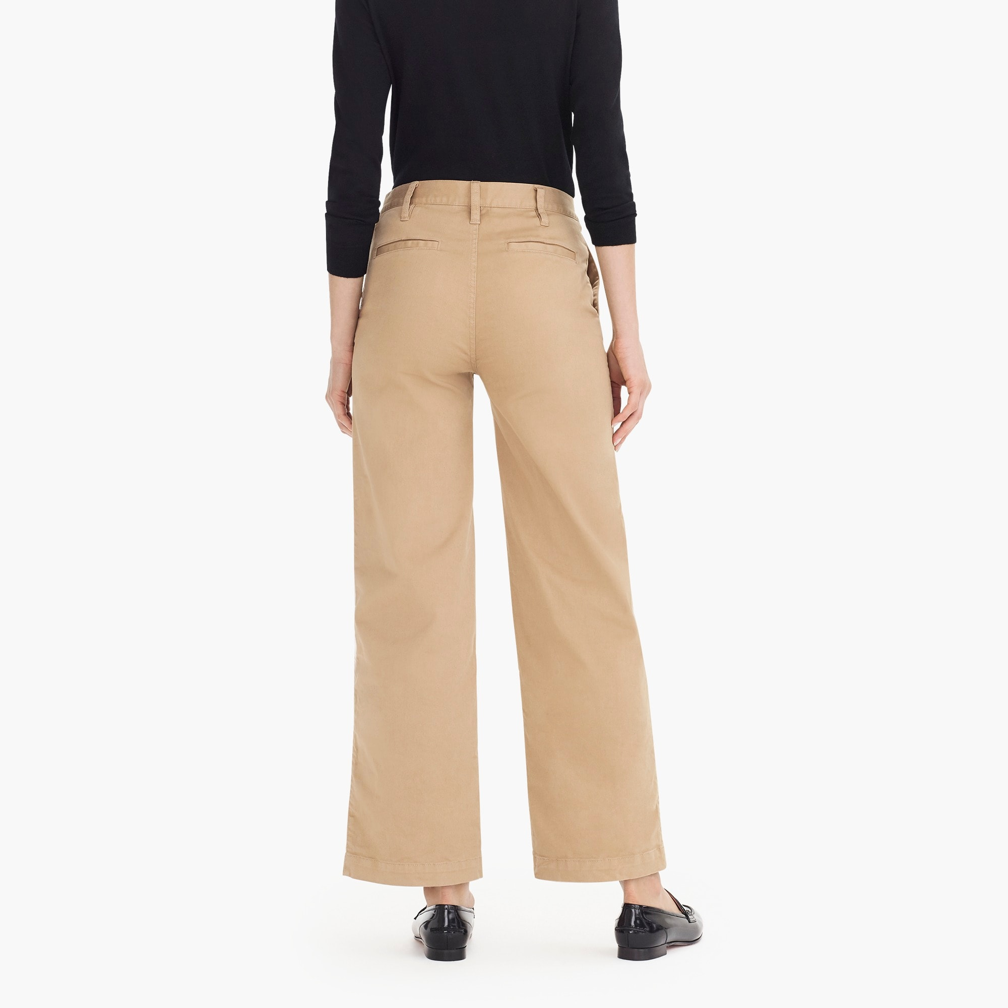 Image 6 for Petite full-length wide-leg chino pant